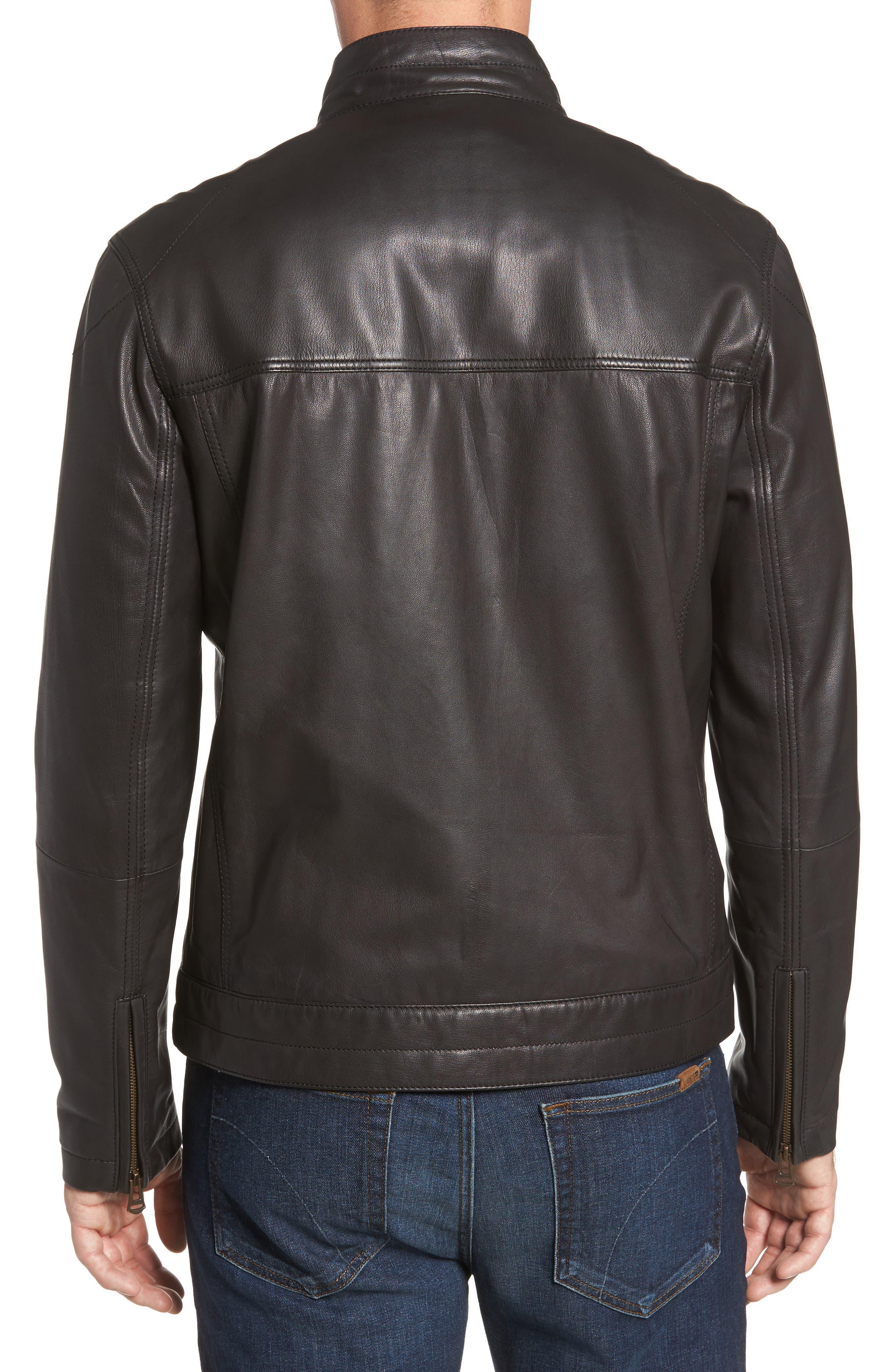 Washed Leather Trucker Jacket,                             Alternate thumbnail 2, color,                             BLACK