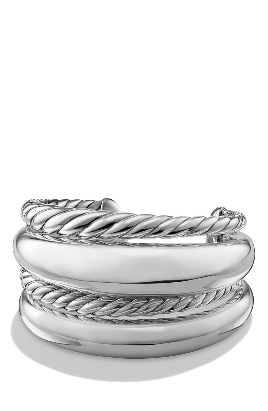 'Pure Form' Four-Row Sterling Silver Cuff,                             Main thumbnail 1, color,                             SILVER