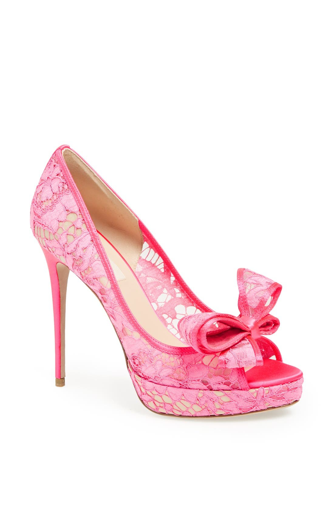 'Lace Couture Bow' Open Toe Pump,                             Main thumbnail 1, color,                             651