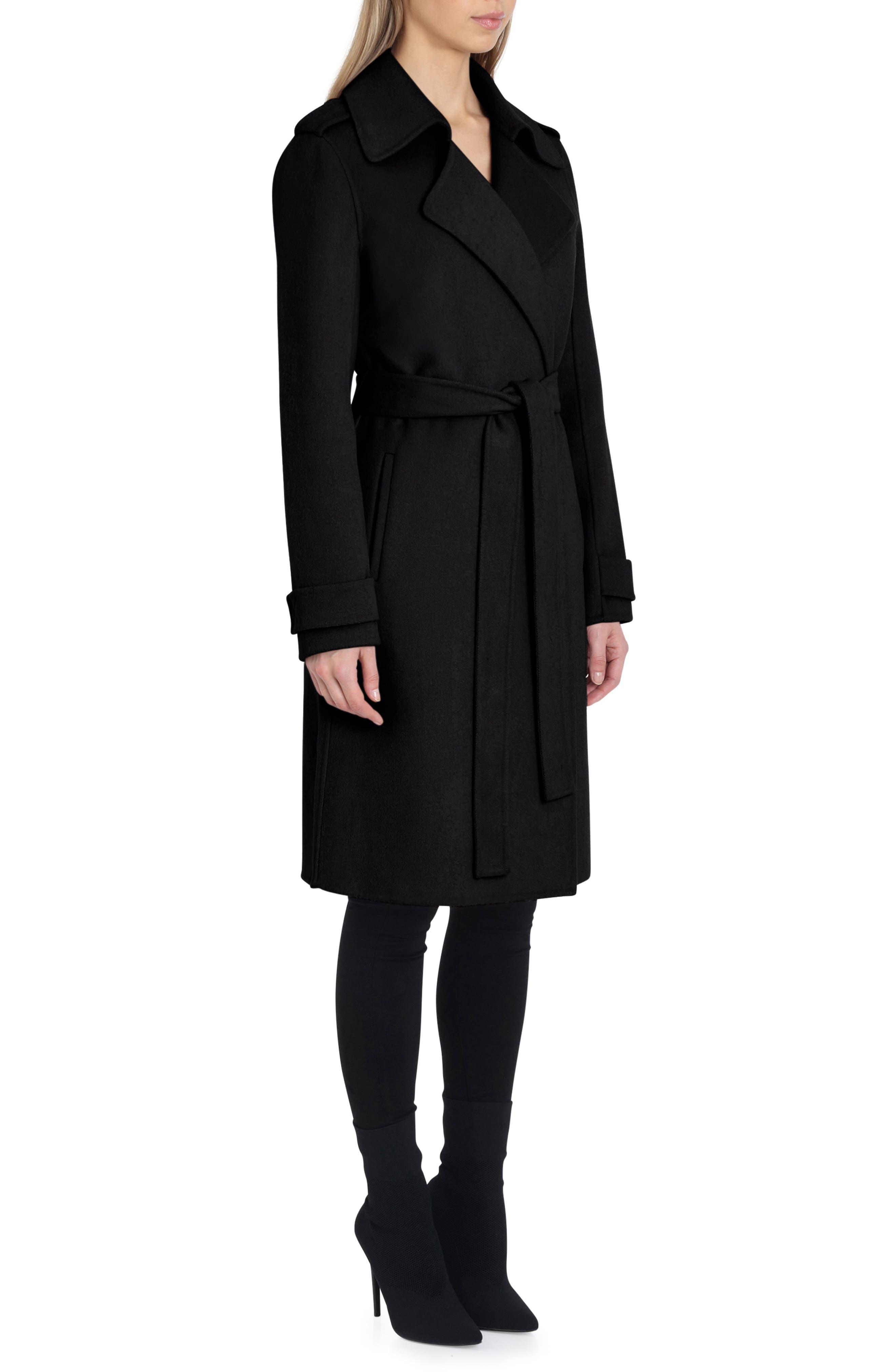 Double Face Wool Blend Wrap Front Coat,                             Alternate thumbnail 3, color,                             BLACK