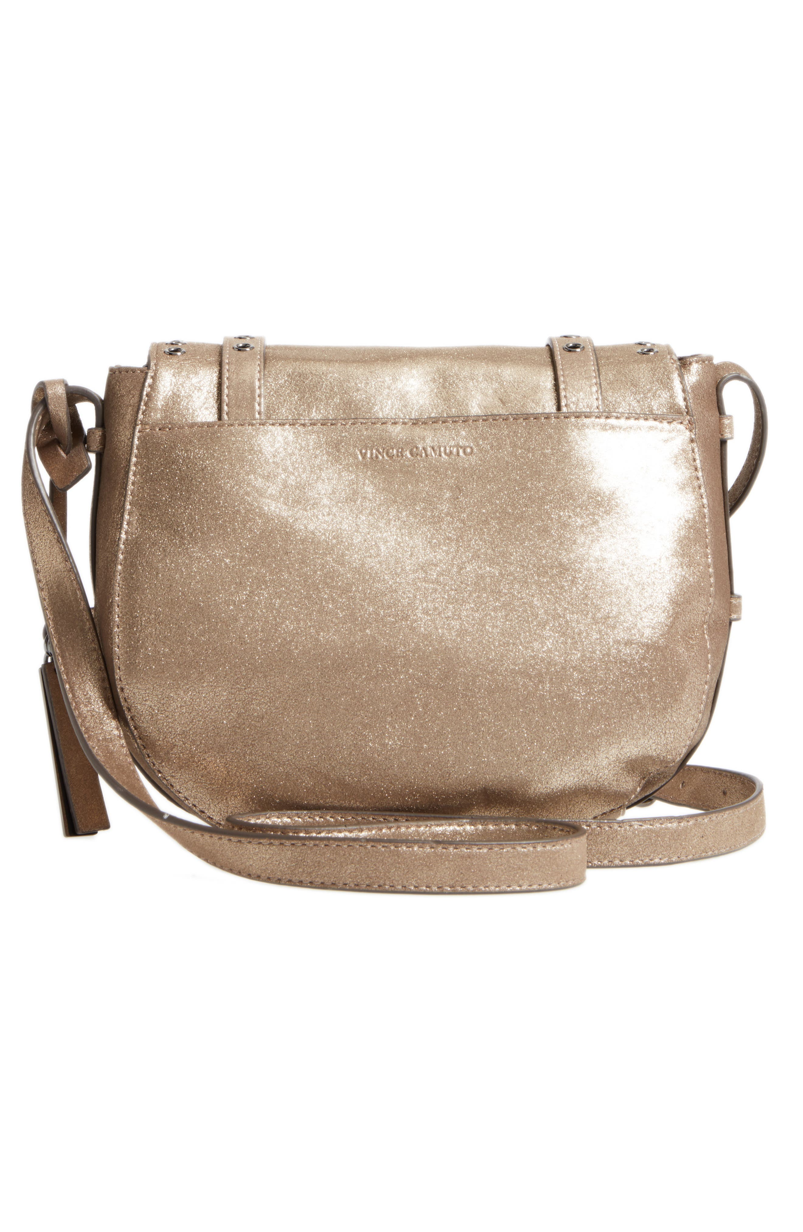Areli Suede & Leather Crossbody Saddle Bag,                             Alternate thumbnail 3, color,                             710