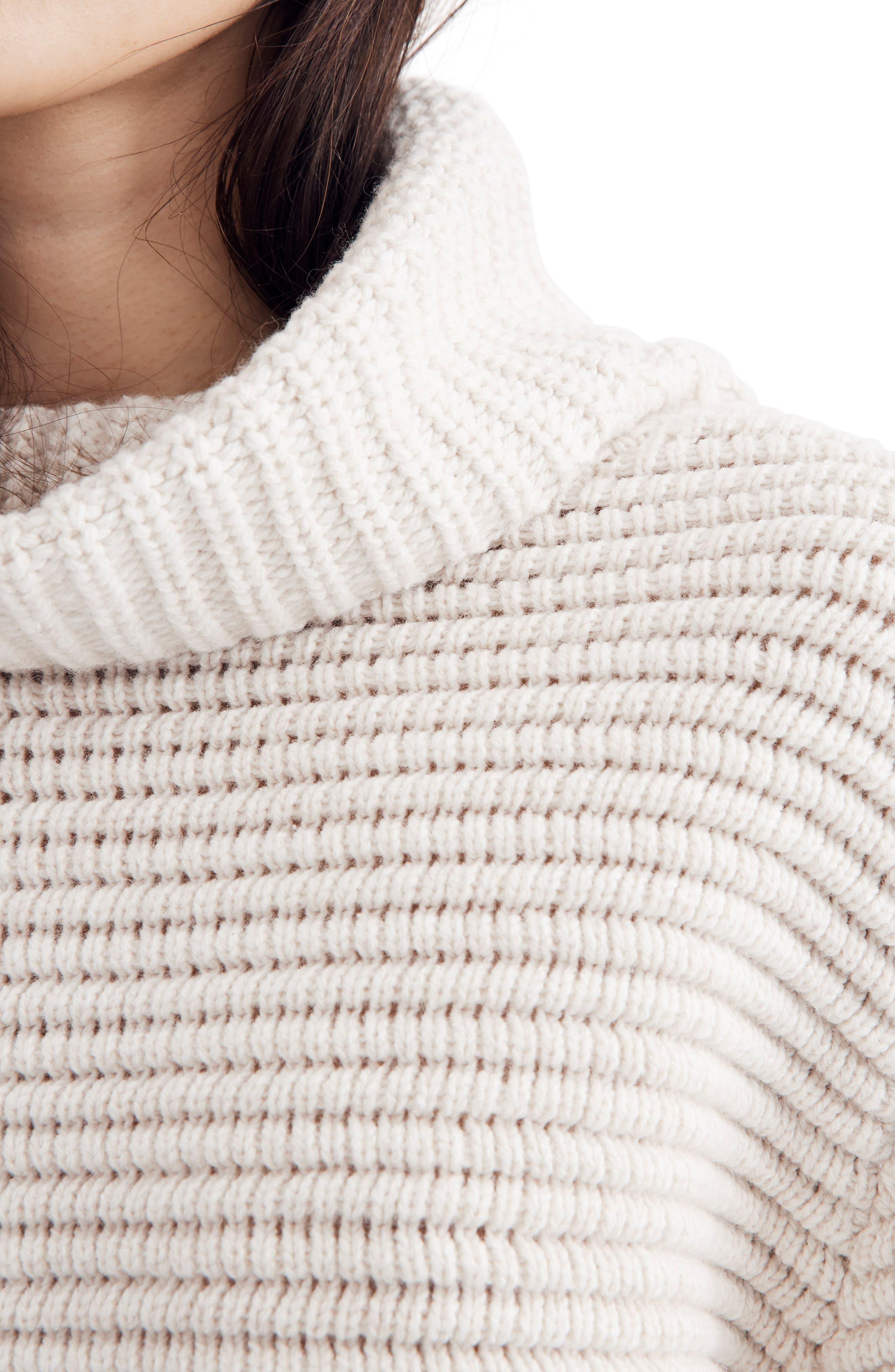 Side Button Turtleneck Sweater,                             Alternate thumbnail 3, color,                             HEATHER OAK