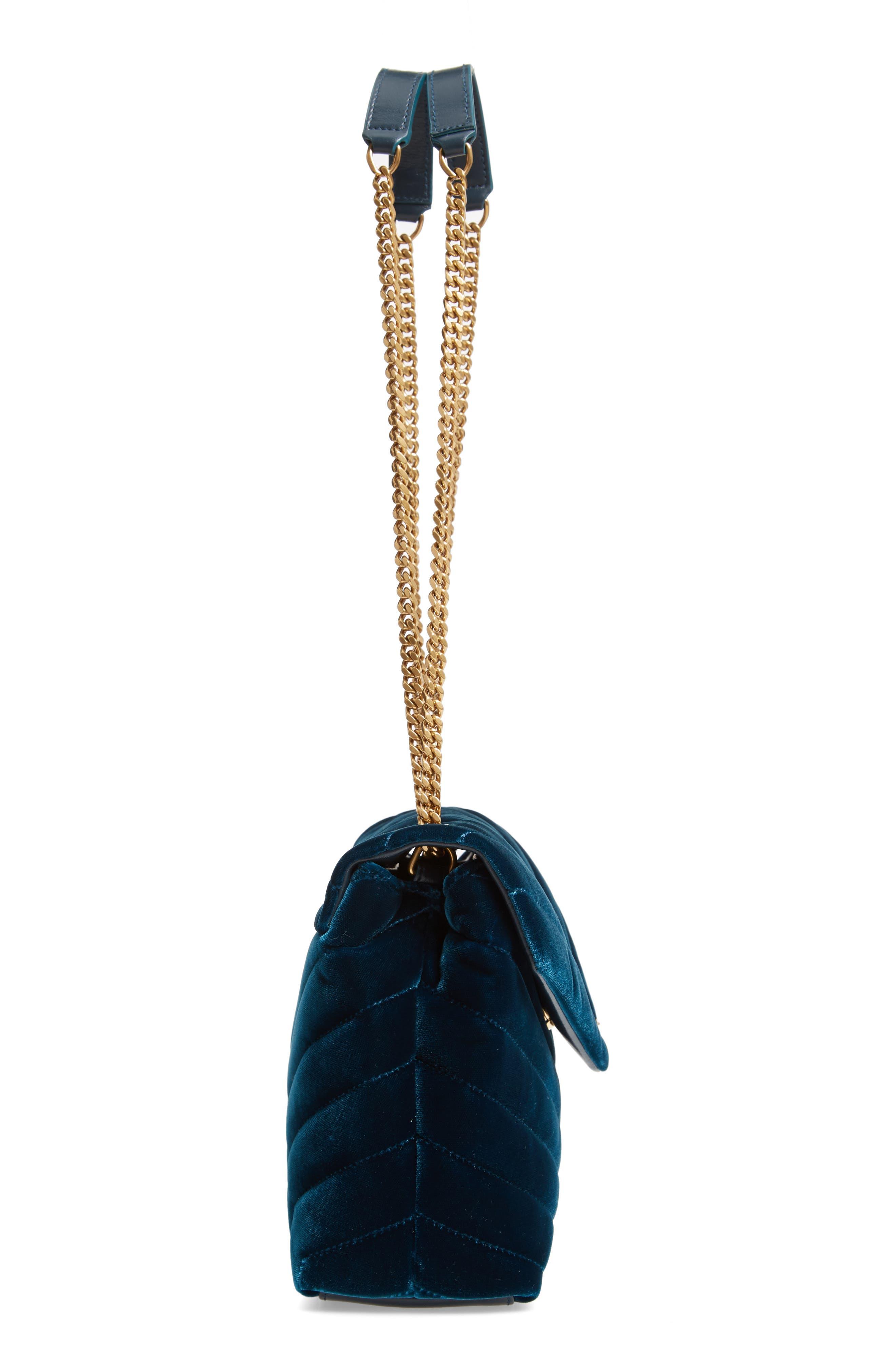 SAINT LAURENT,                             Small Loulou Matelassé Velour Shoulder Bag,                             Alternate thumbnail 5, color,                             DARK DEEP SEA/ DARK DEEP SEA