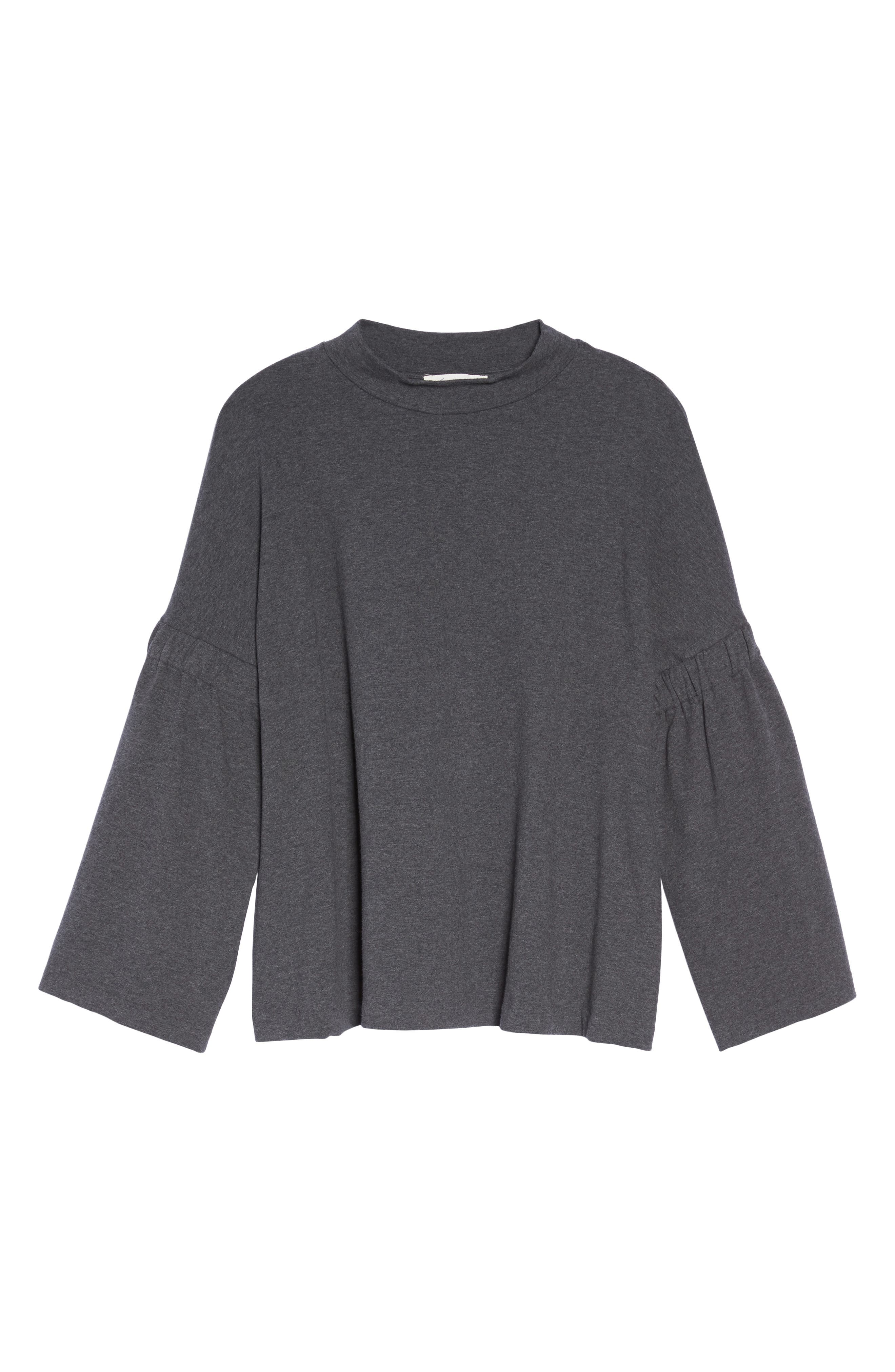 Bell Sleeve Top,                             Alternate thumbnail 6, color,                             MED HEATHER GREY
