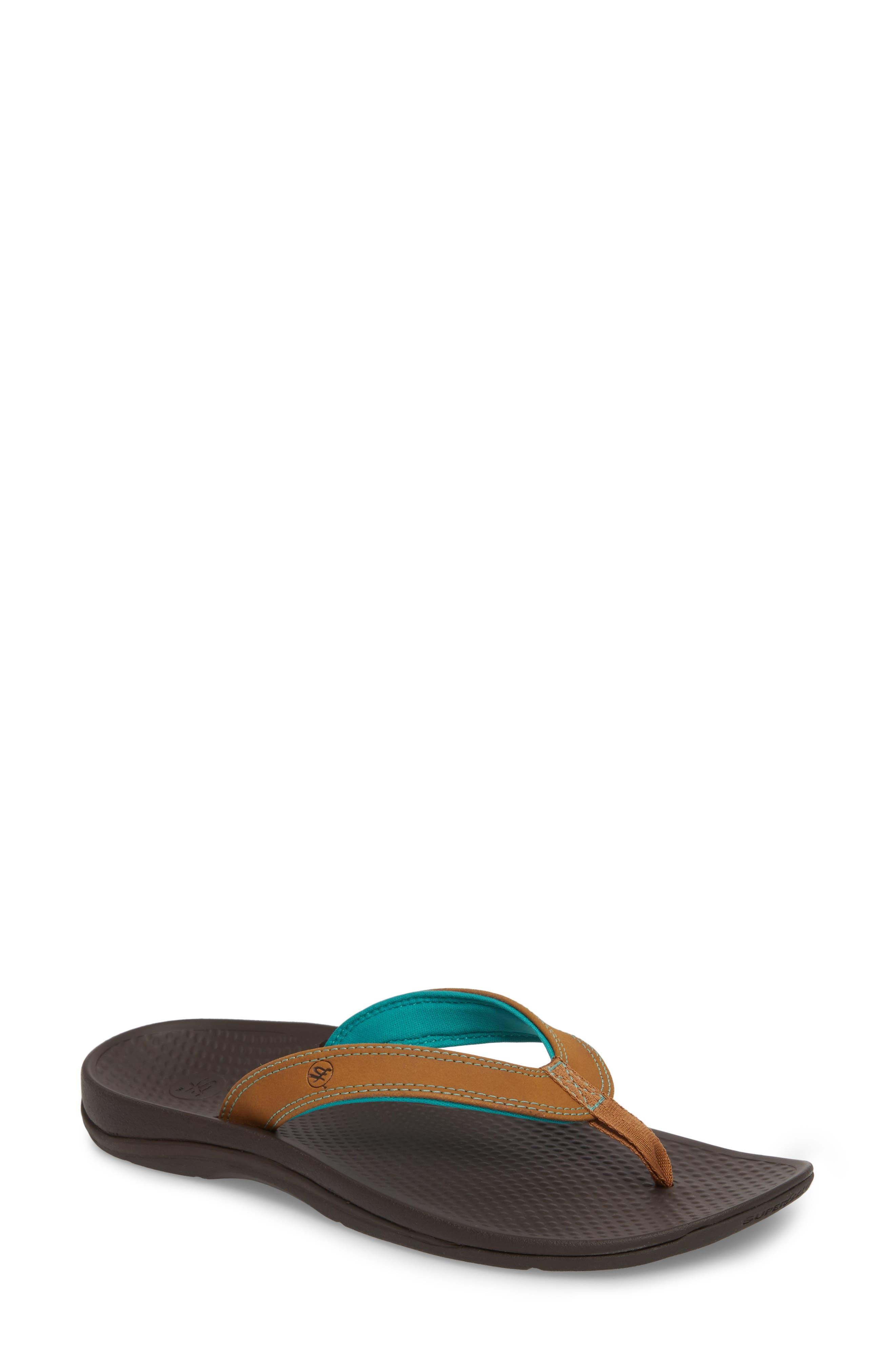 Outside 2.0 Flip Flop,                             Main thumbnail 1, color,                             BROWN FAUX LEATHER
