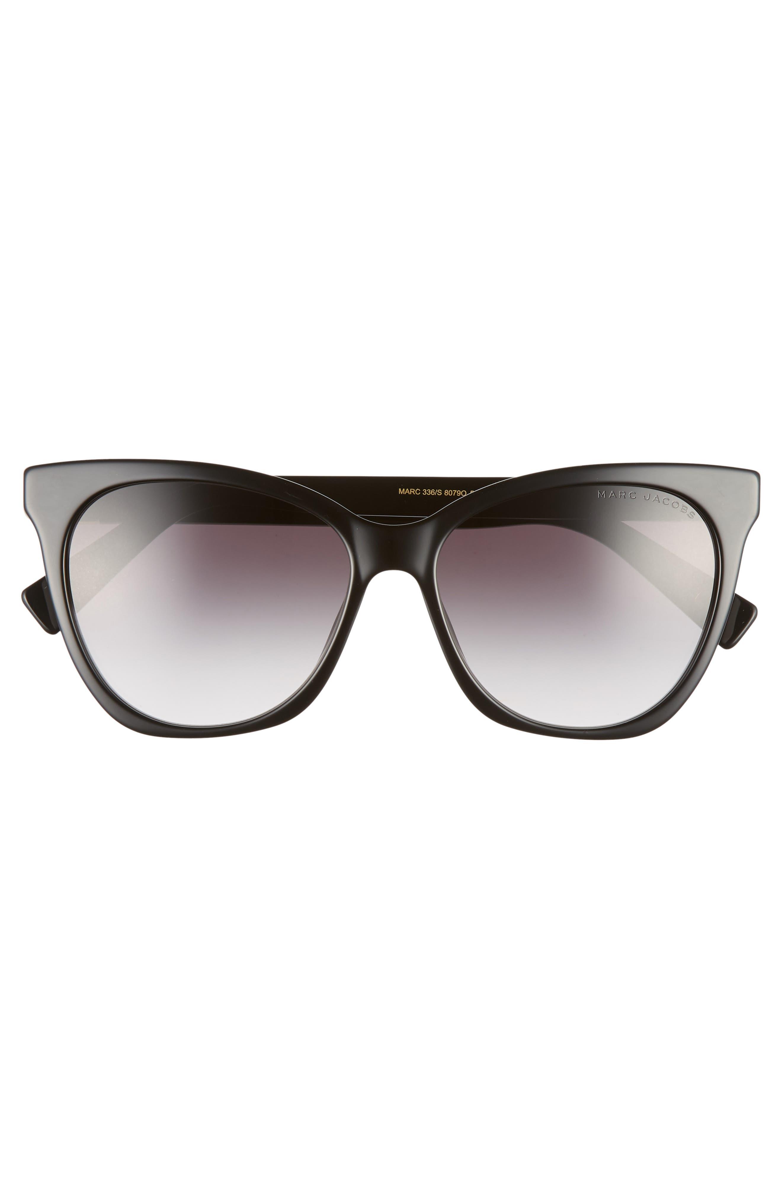 56mm Cat Eye Sunglasses,                             Alternate thumbnail 3, color,                             BLACK
