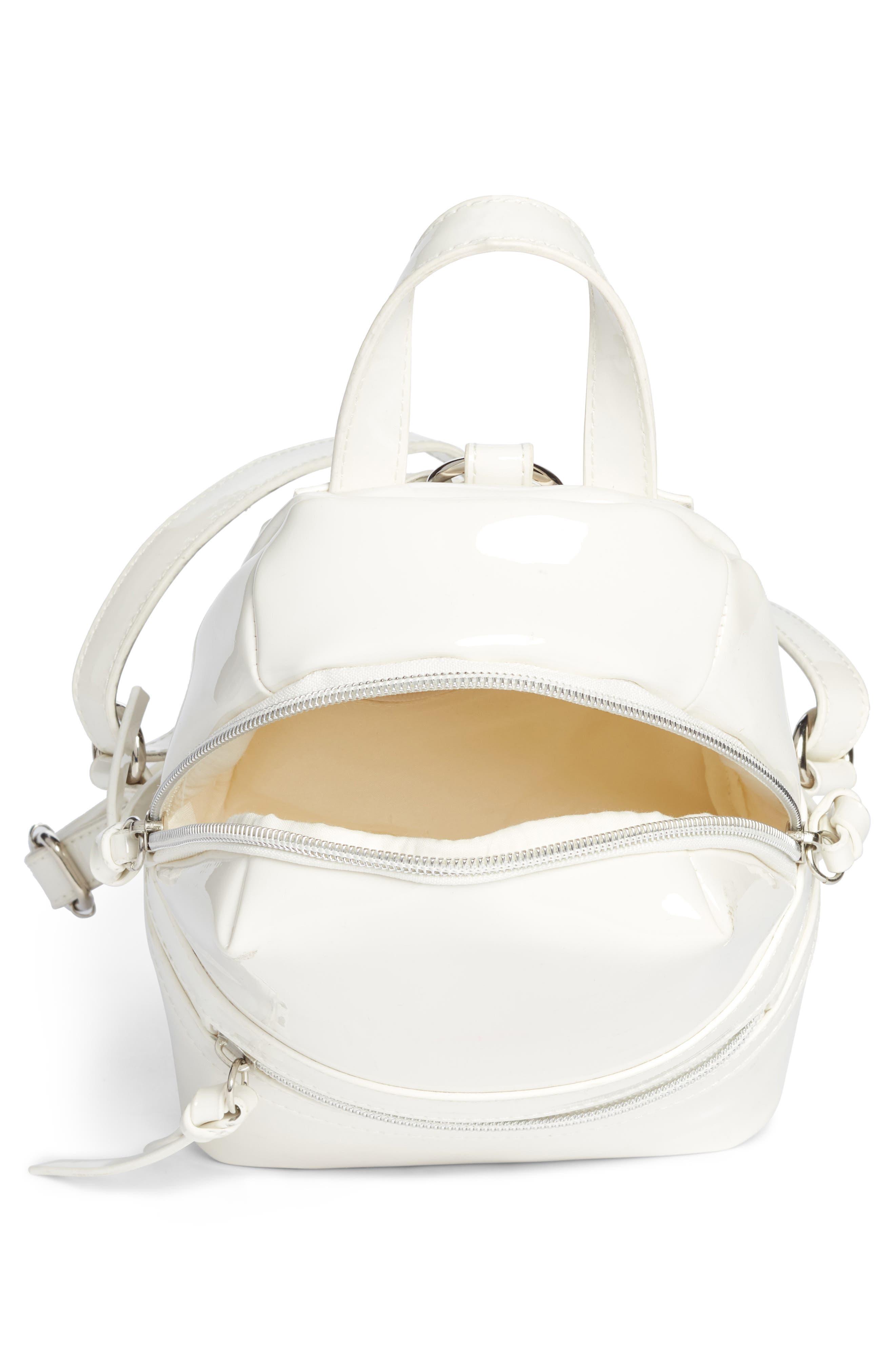 Faux Patent Leather Mini Backpack,                             Alternate thumbnail 4, color,                             100