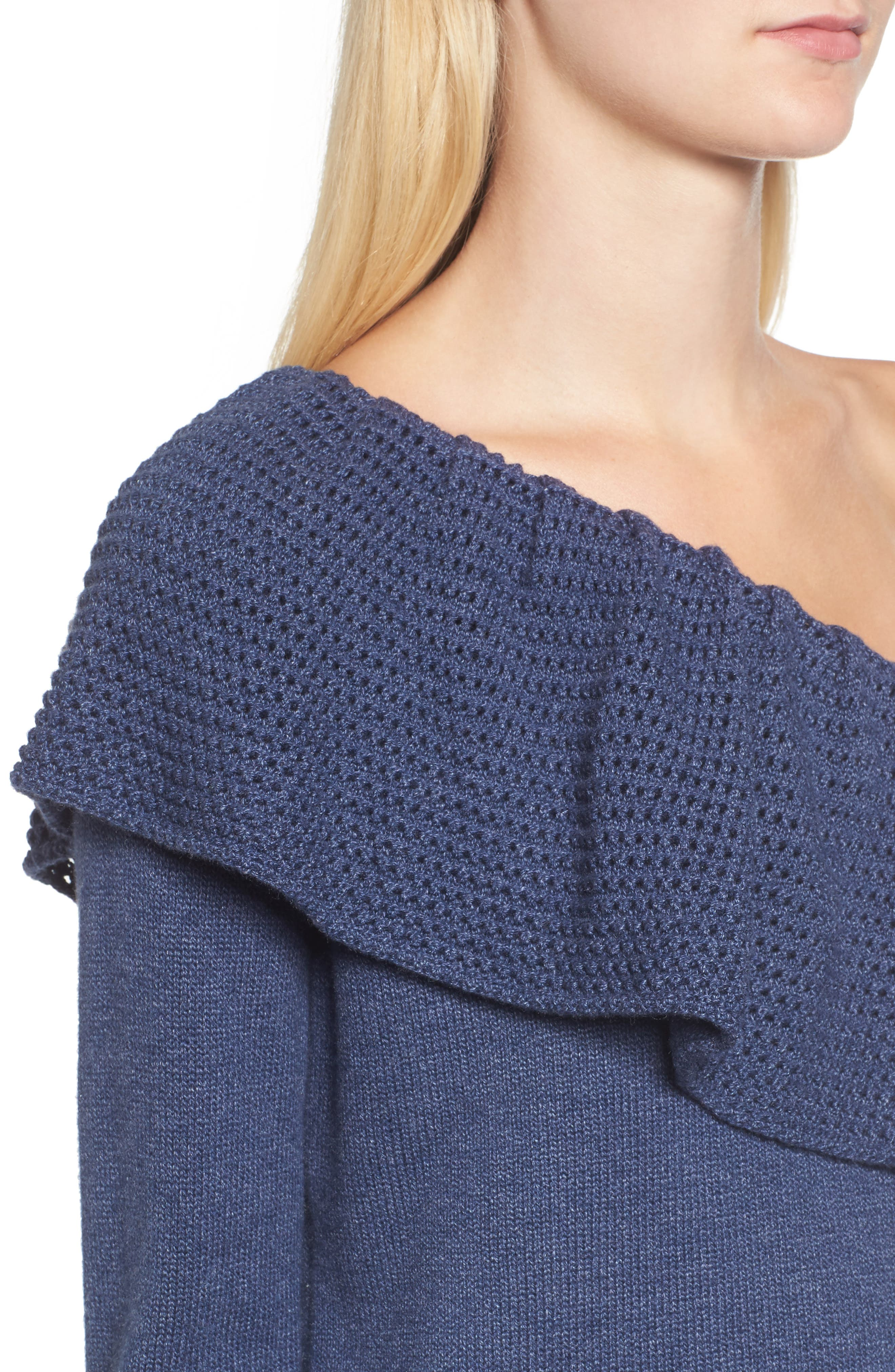 Ruffle One Shoulder Sweater,                             Alternate thumbnail 4, color,                             439
