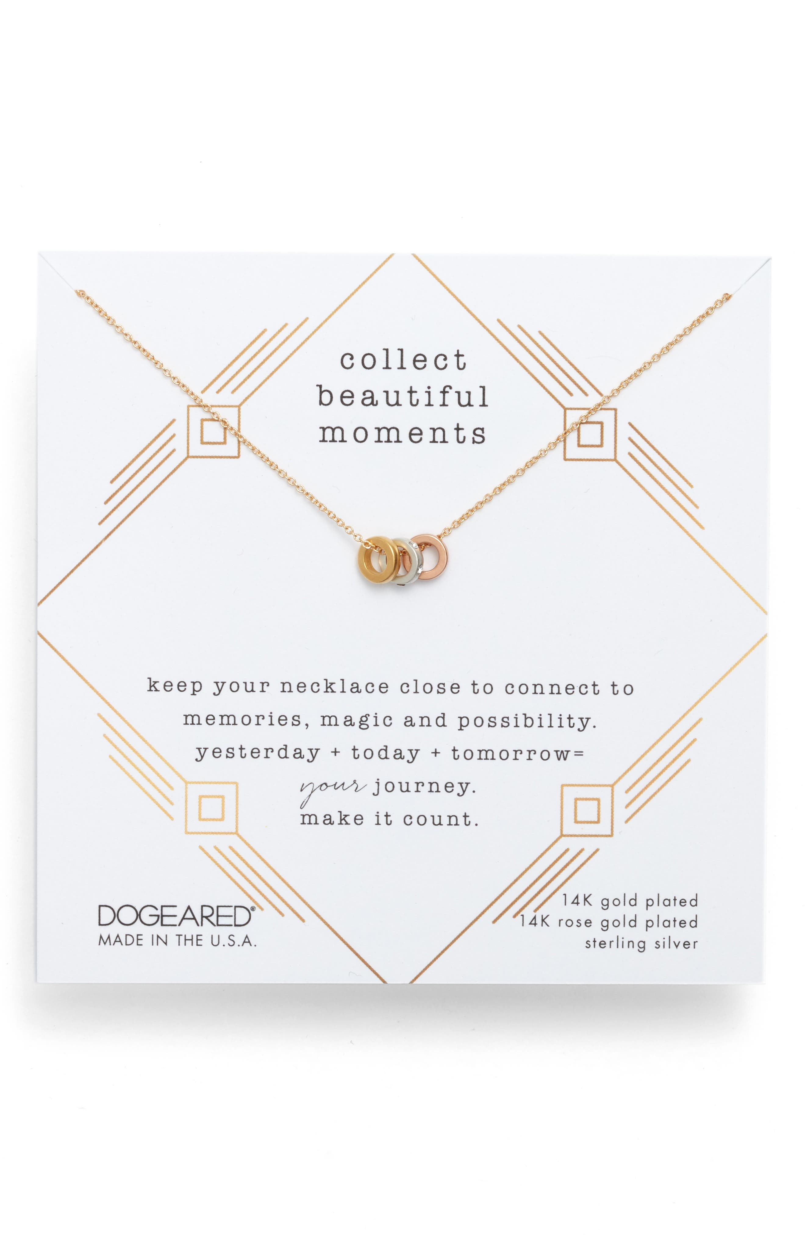 DOGEARED Collect Beautiful Moments Necklace In 14K Gold-Plated Sterling Silver, 16 in Mixed Metals