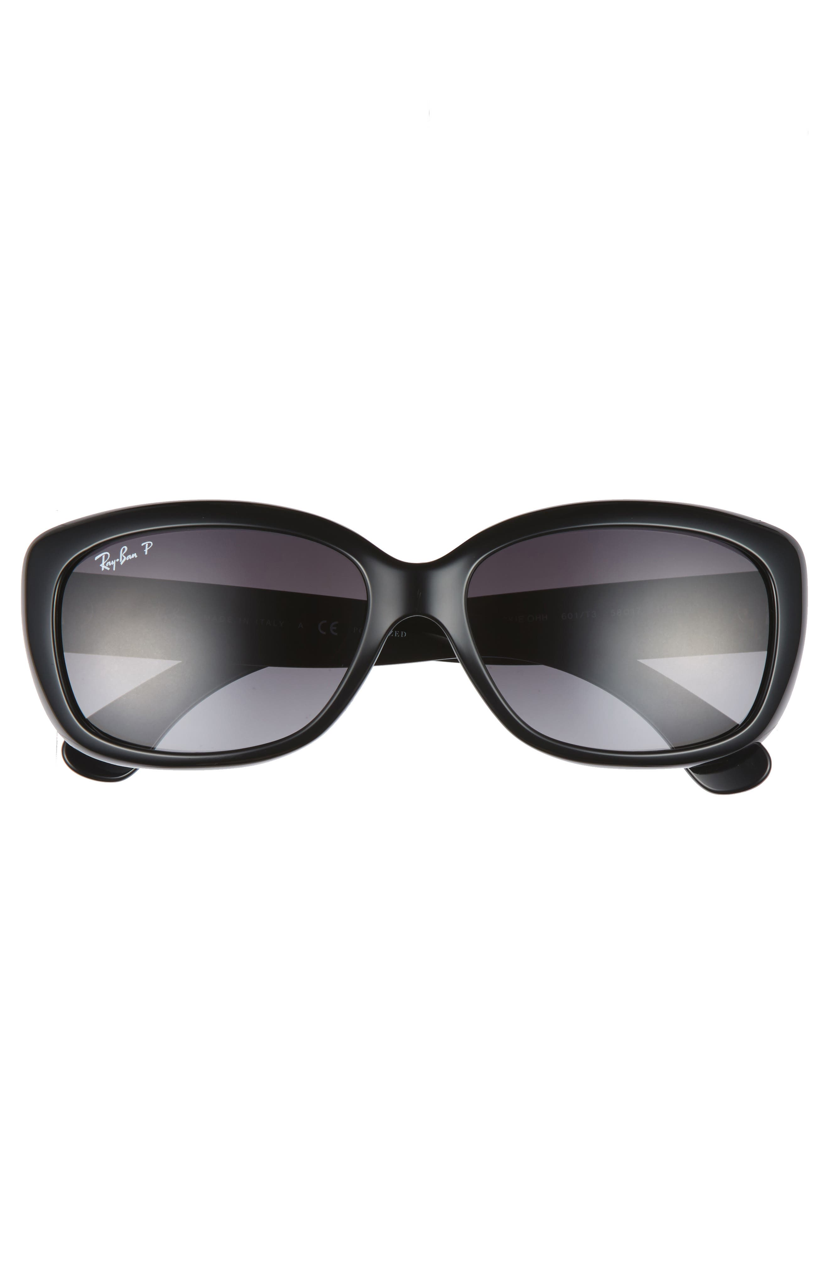 58mm Polarized Sunglasses,                             Alternate thumbnail 3, color,                             BLACK GREY