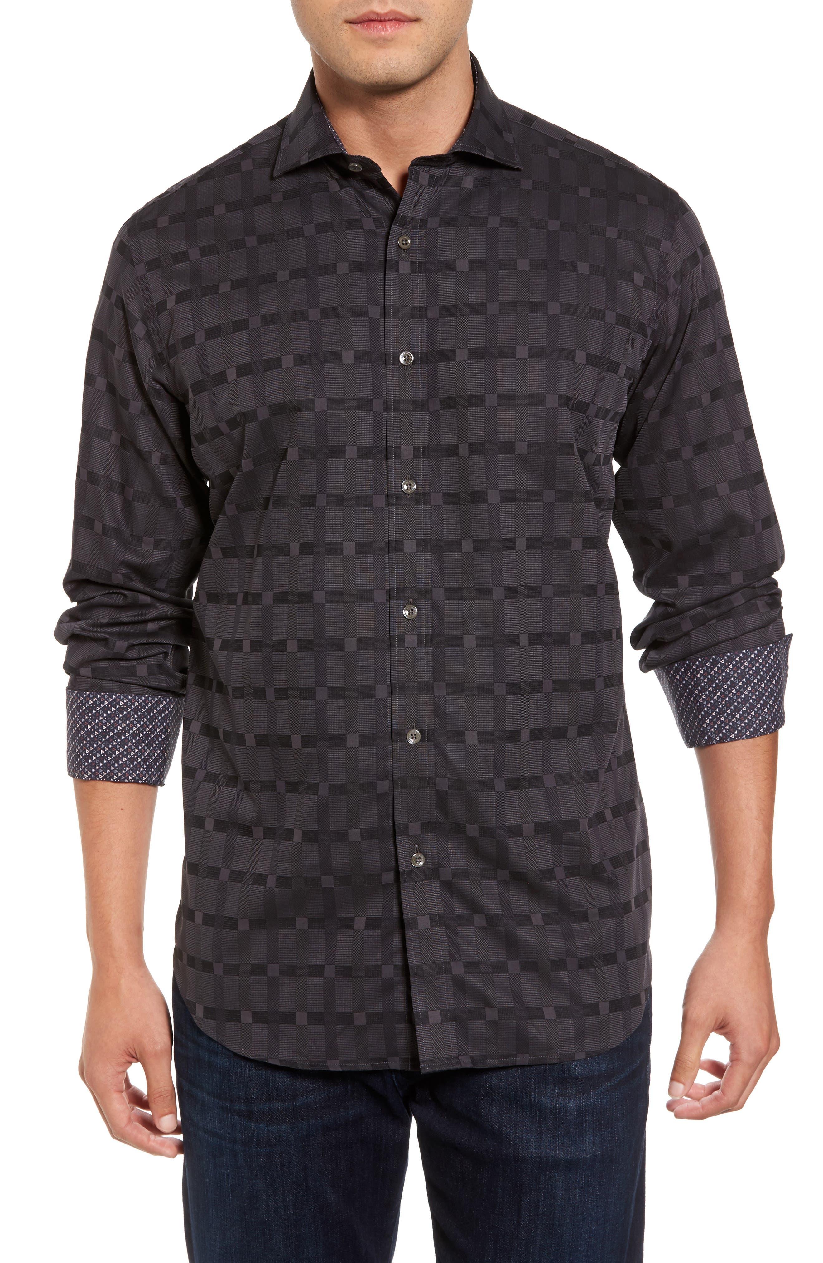 Classic Fit Check Jacquard Sport Shirt,                         Main,                         color,