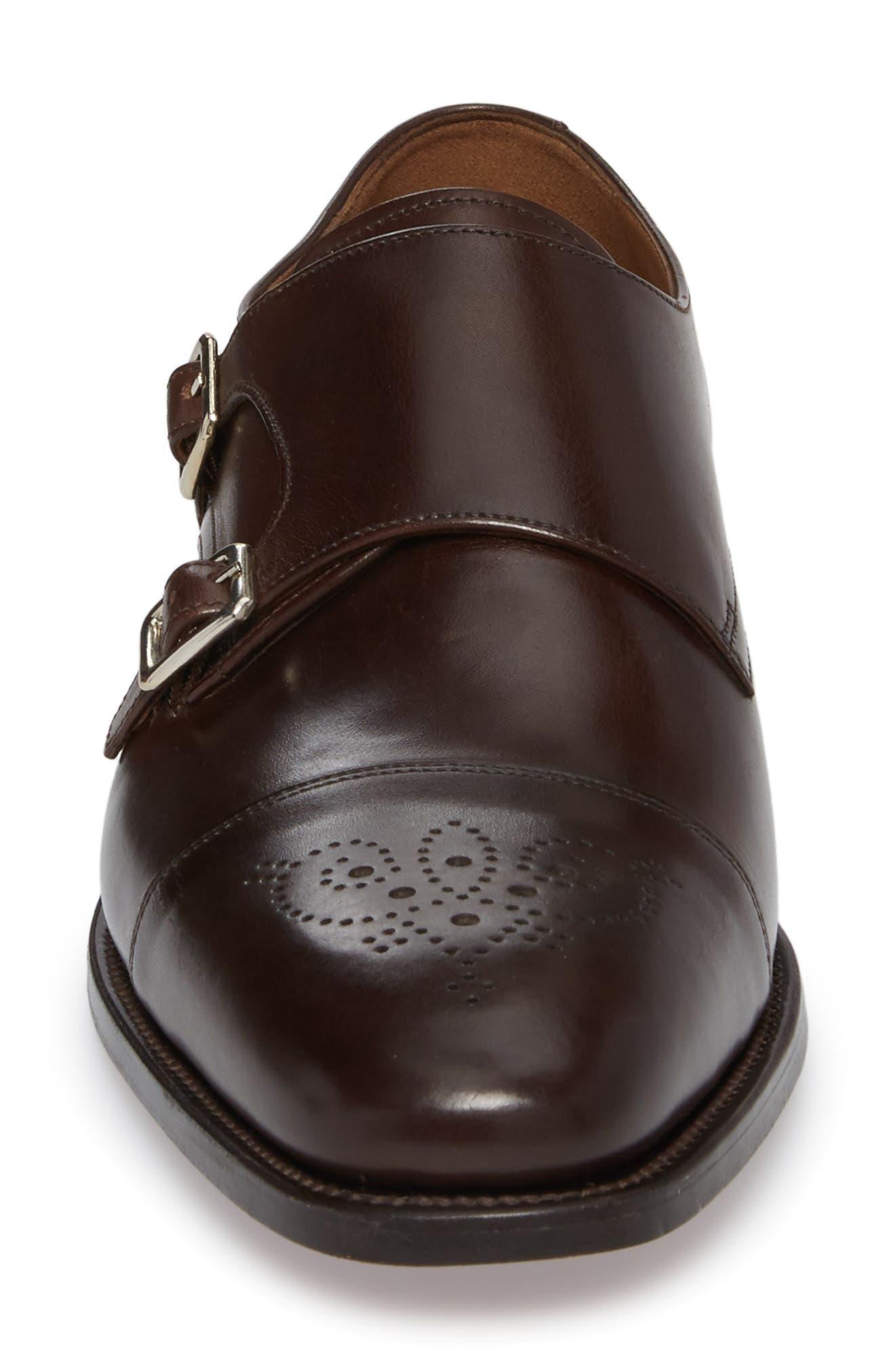 Sausalito Double Monk Strap Shoe,                             Alternate thumbnail 4, color,                             COFFEE