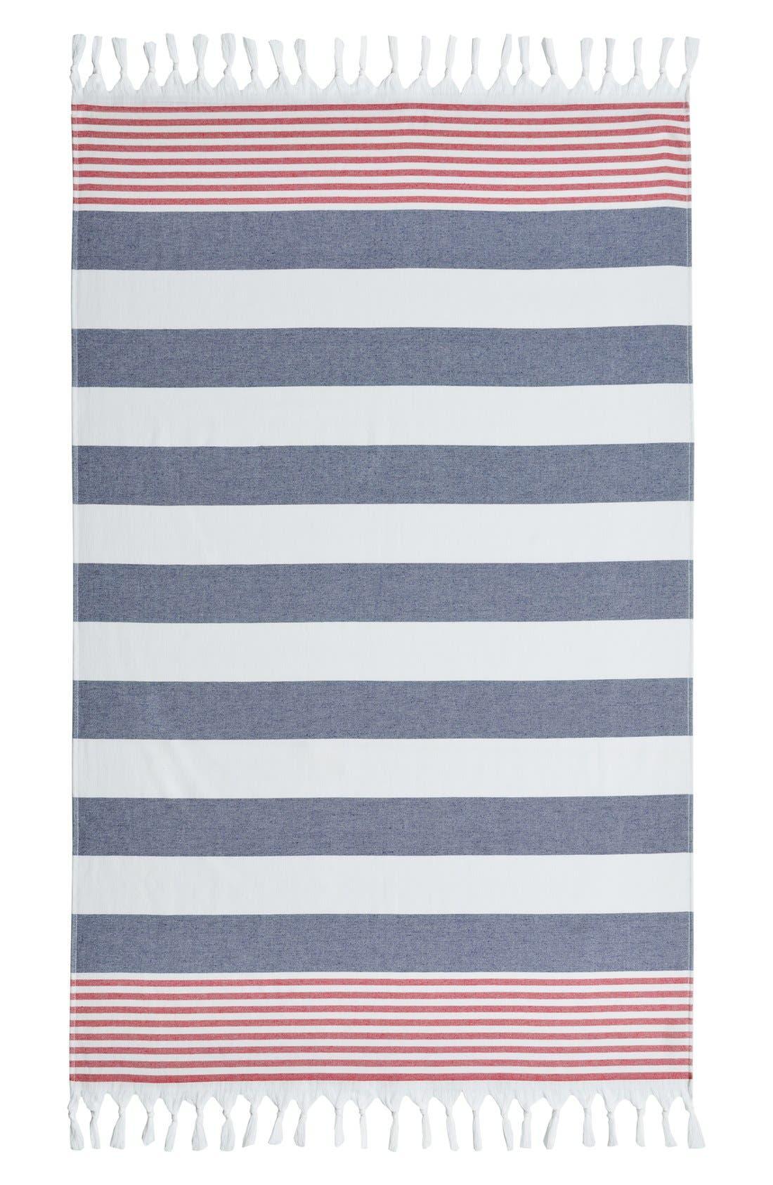 'Patriotic' Turkish Pestemal Towel,                             Alternate thumbnail 4, color,                             OCEAN BLUE