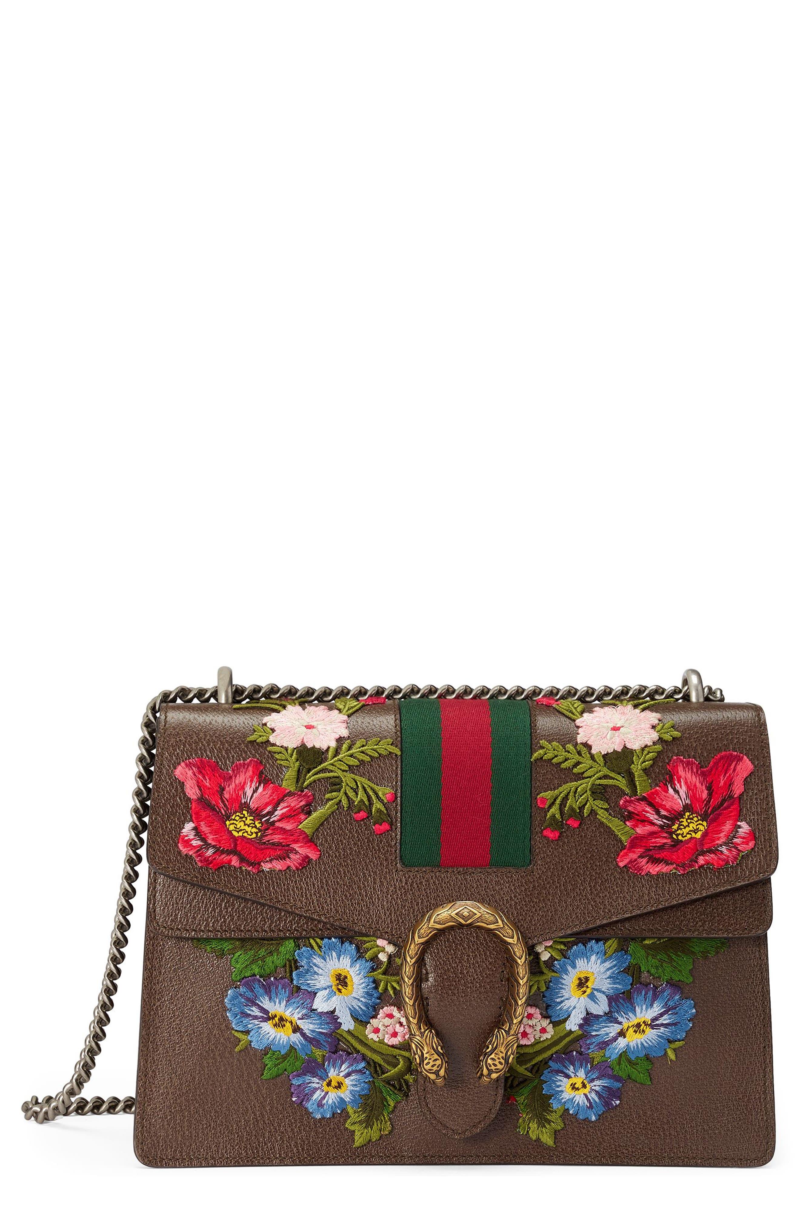 Medium Dionysus Embroidered Leather Shoulder Bag,                             Main thumbnail 1, color,                             031