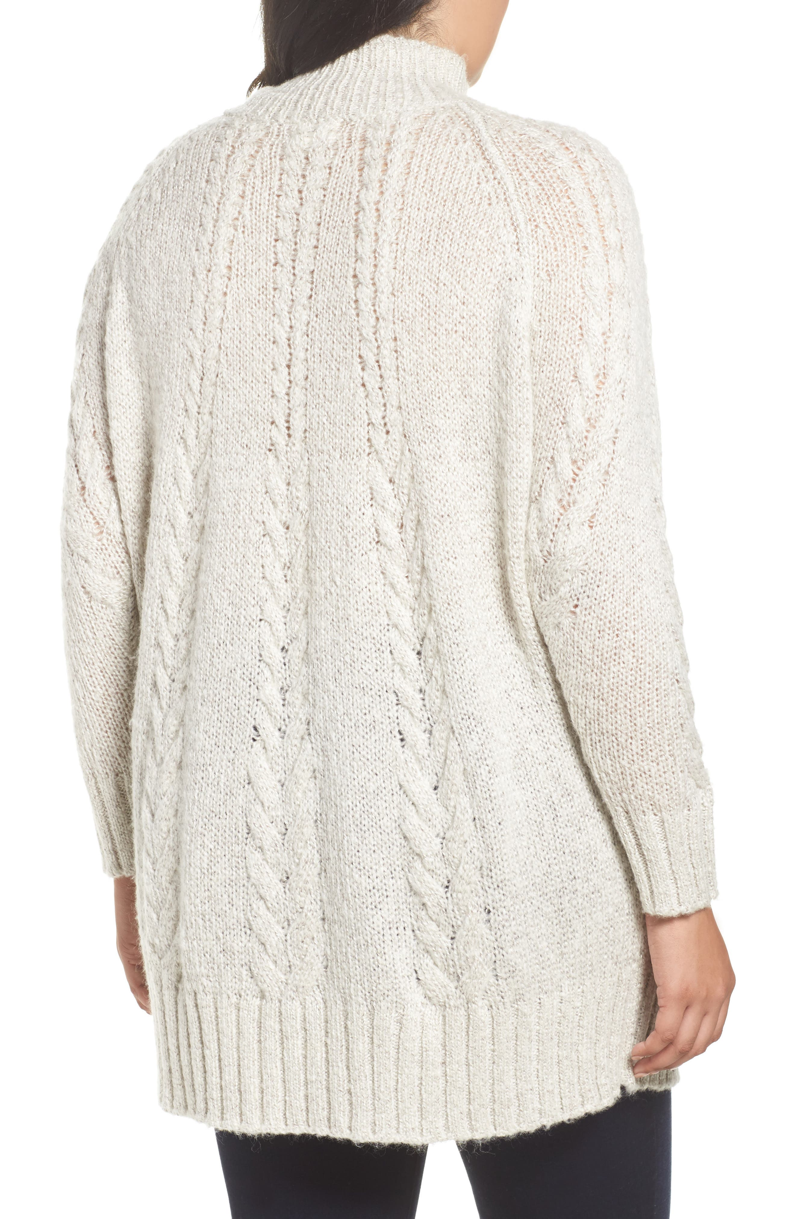 Cable Knit Tunic Sweater,                             Alternate thumbnail 2, color,                             BEIGE OATMEAL LIGHT HEATHER