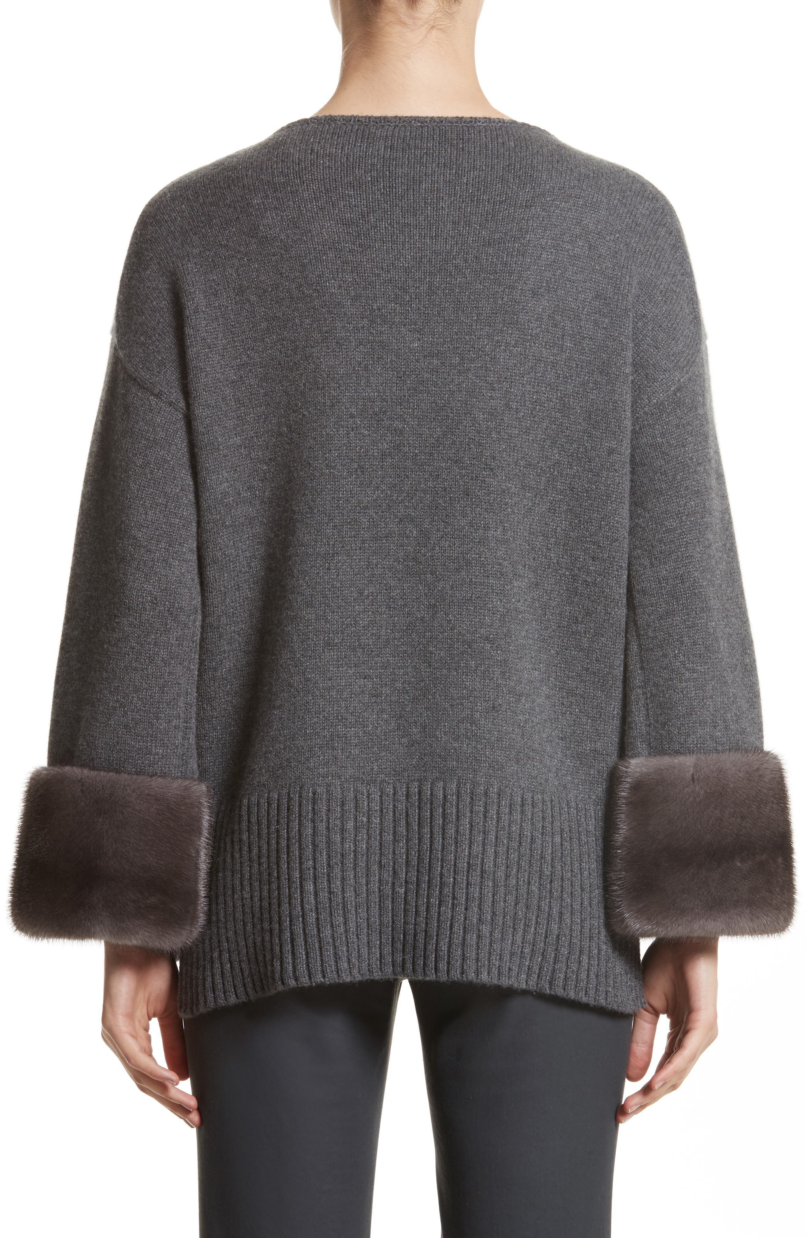 Cashmere Sweater with Genuine Mink Fur Cuffs,                             Alternate thumbnail 2, color,                             020
