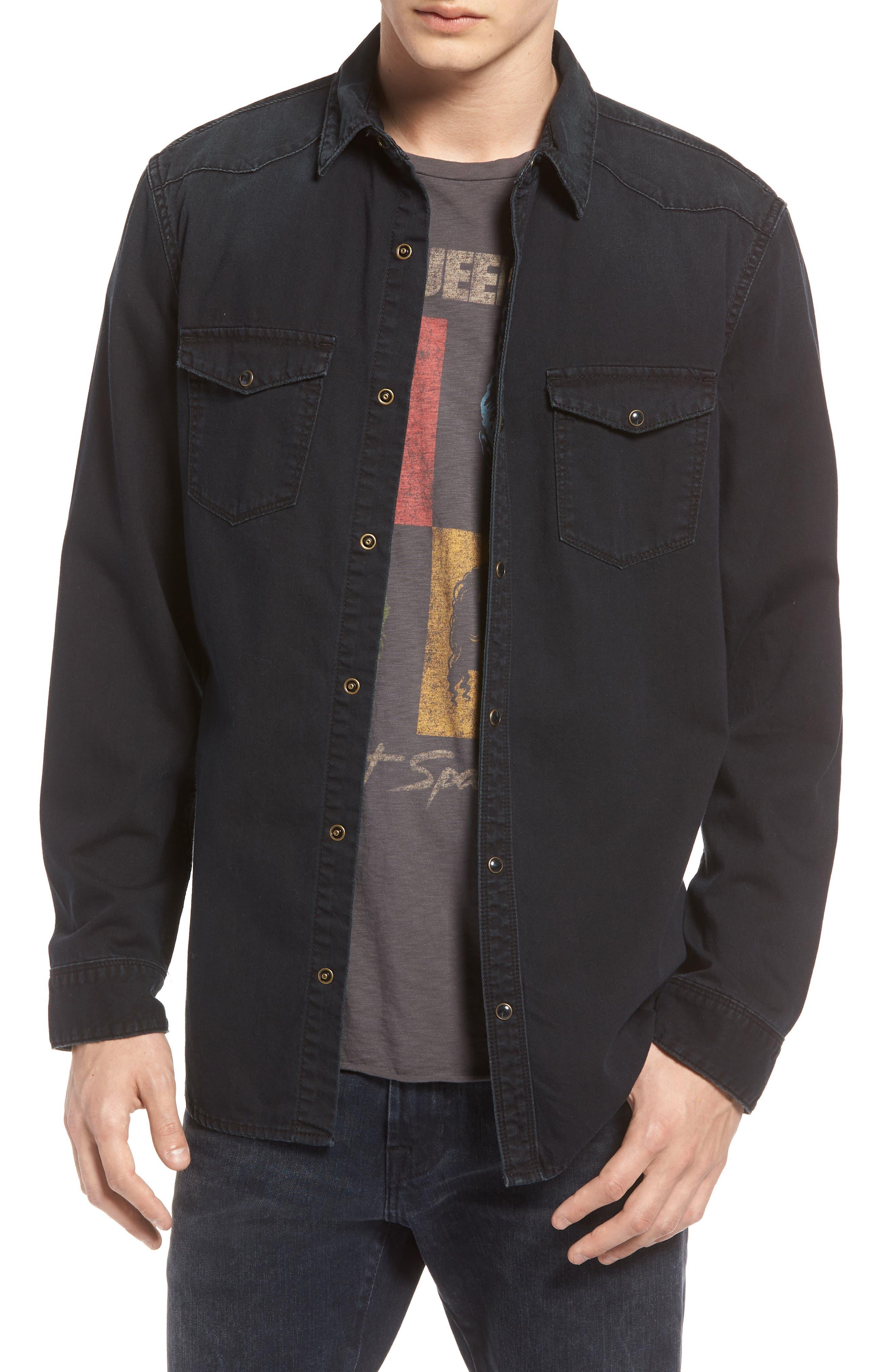 TREASURE & BOND Western Denim Sport Shirt, Main, color, 002