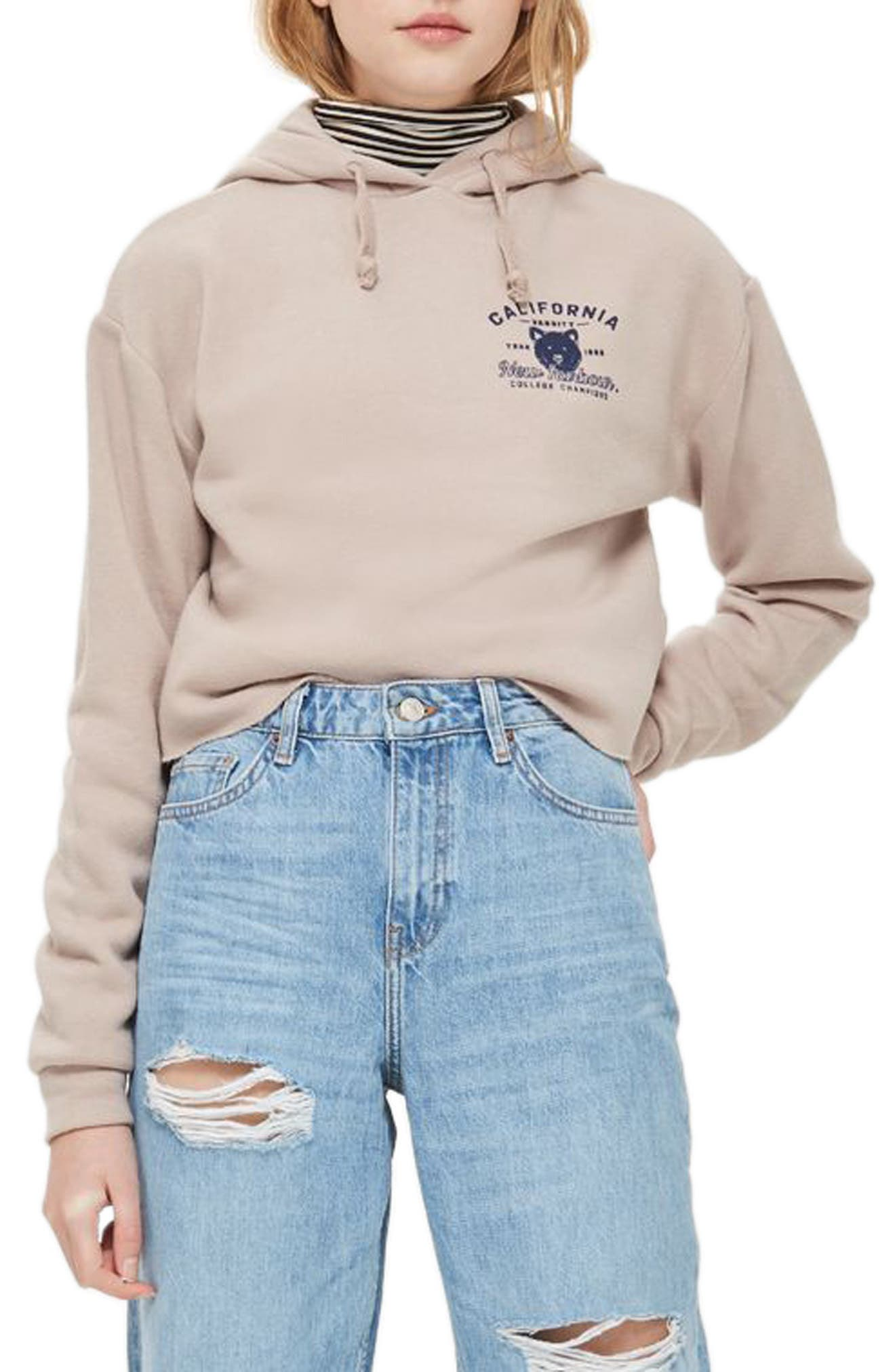 Graphic Crop Hoodie,                             Main thumbnail 1, color,                             101