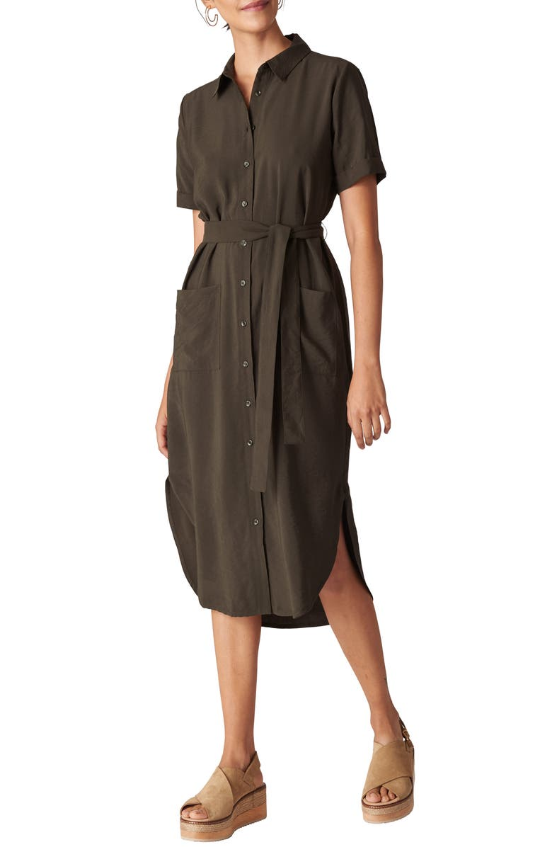 Whistles Montana Longline Shirtdress In Khaki Modesens