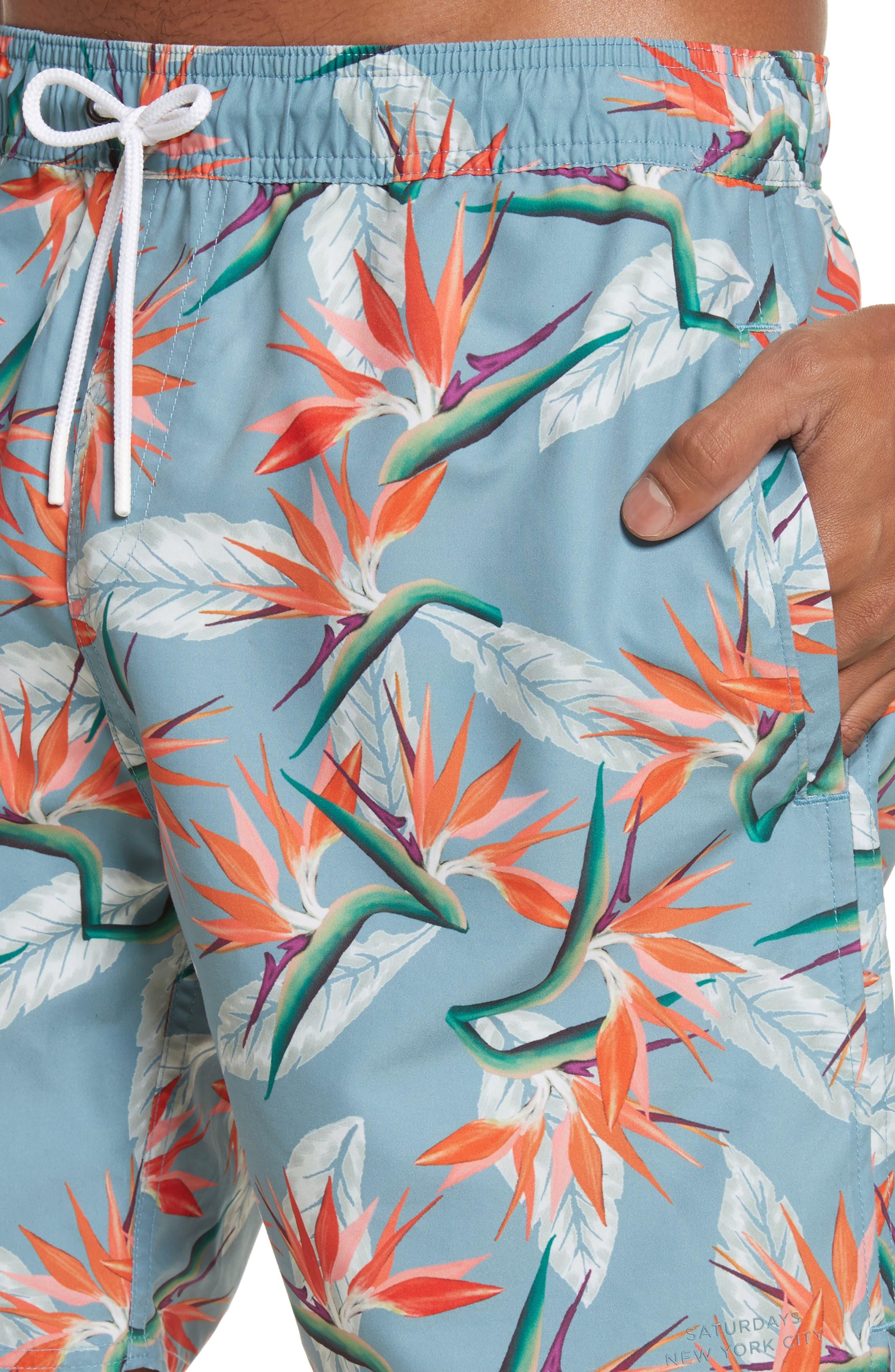Timothy Paradise Swim Shorts,                             Alternate thumbnail 4, color,                             PARADISE PRINT