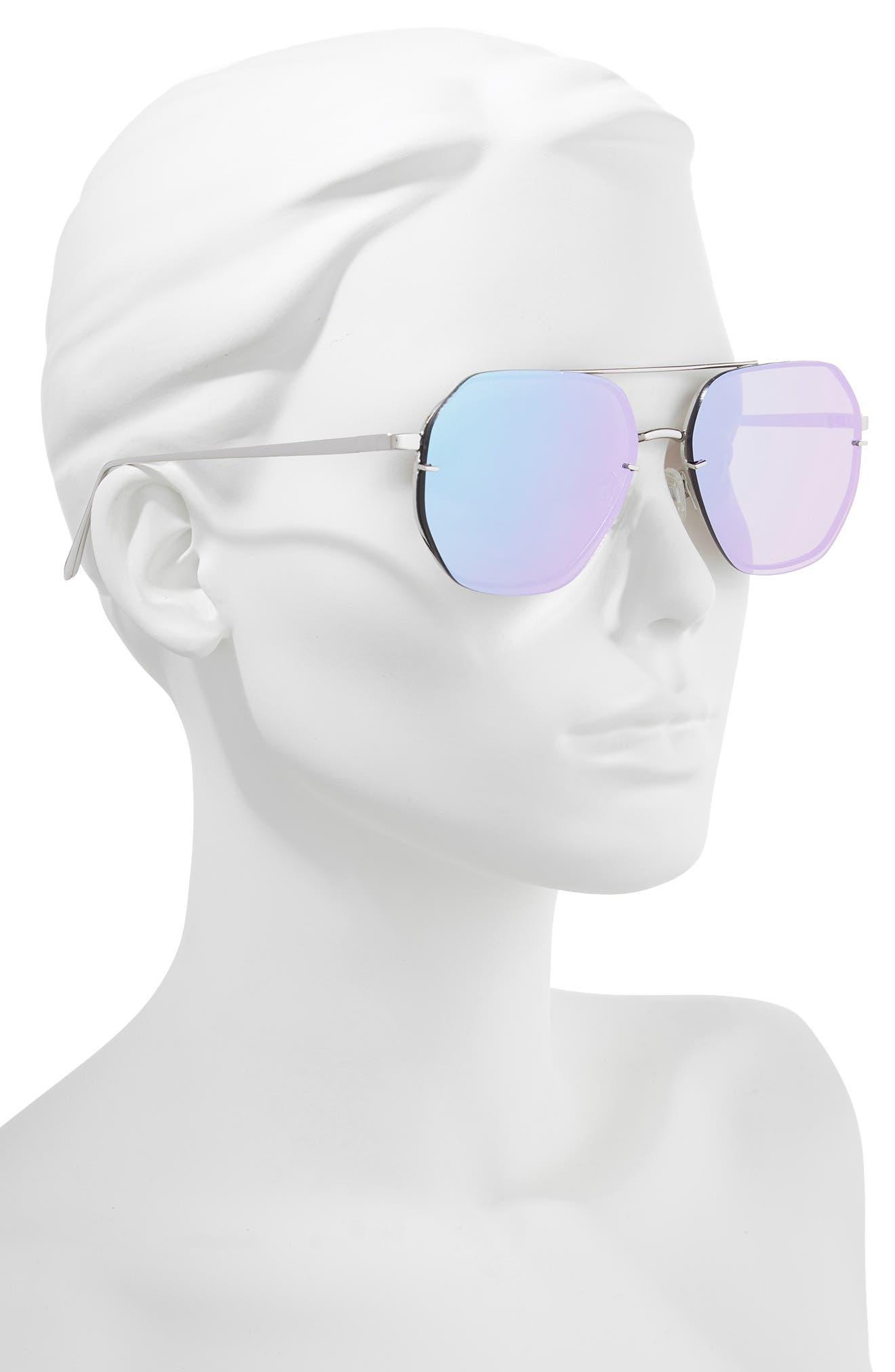 62mm Metal Flat Geo Aviator Sunglasses,                             Alternate thumbnail 2, color,                             SILVER/ PURPLE
