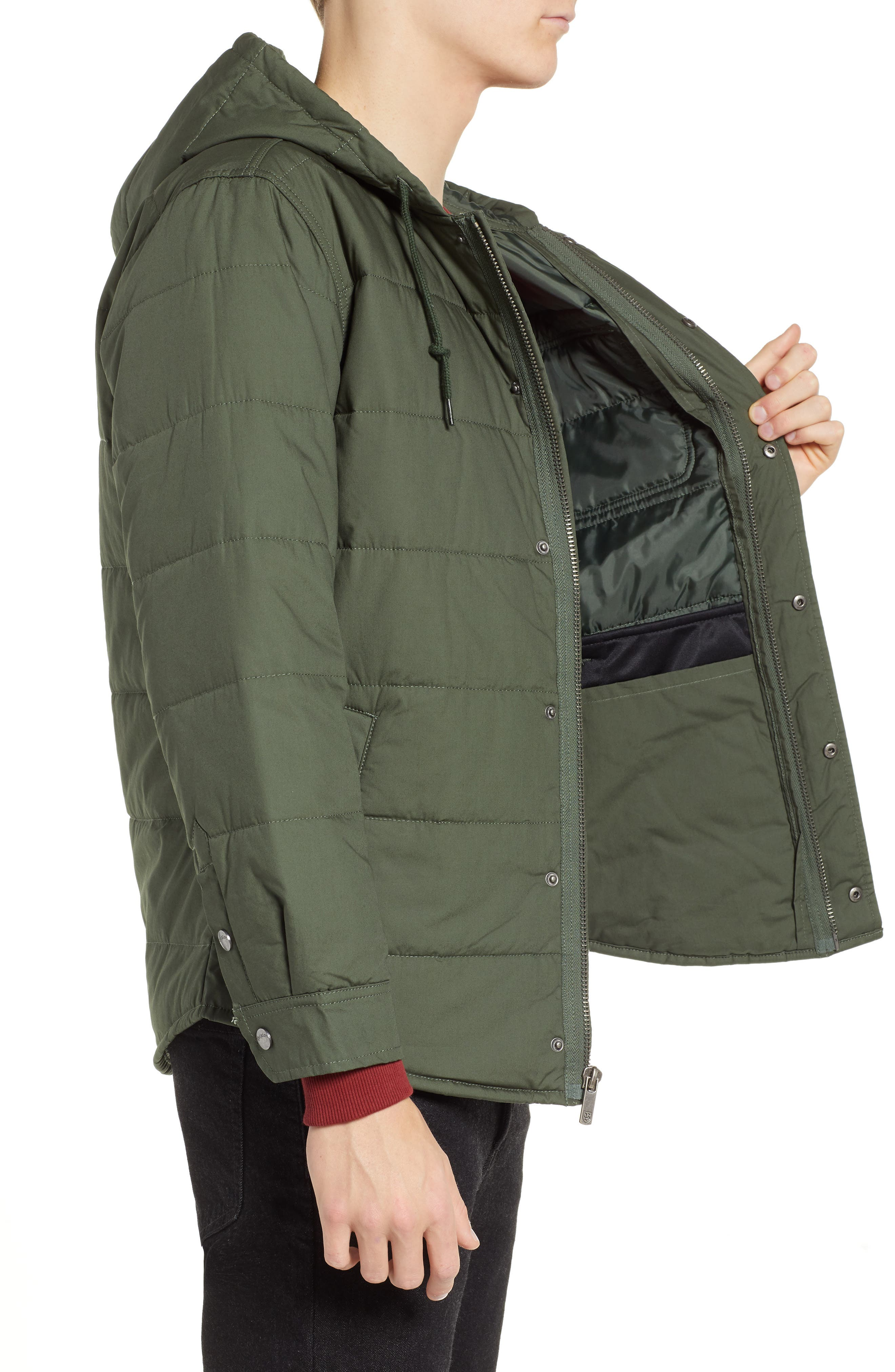 Cass Hooded Quilted Water Repellent Cotton Jacket,                             Alternate thumbnail 3, color,                             300