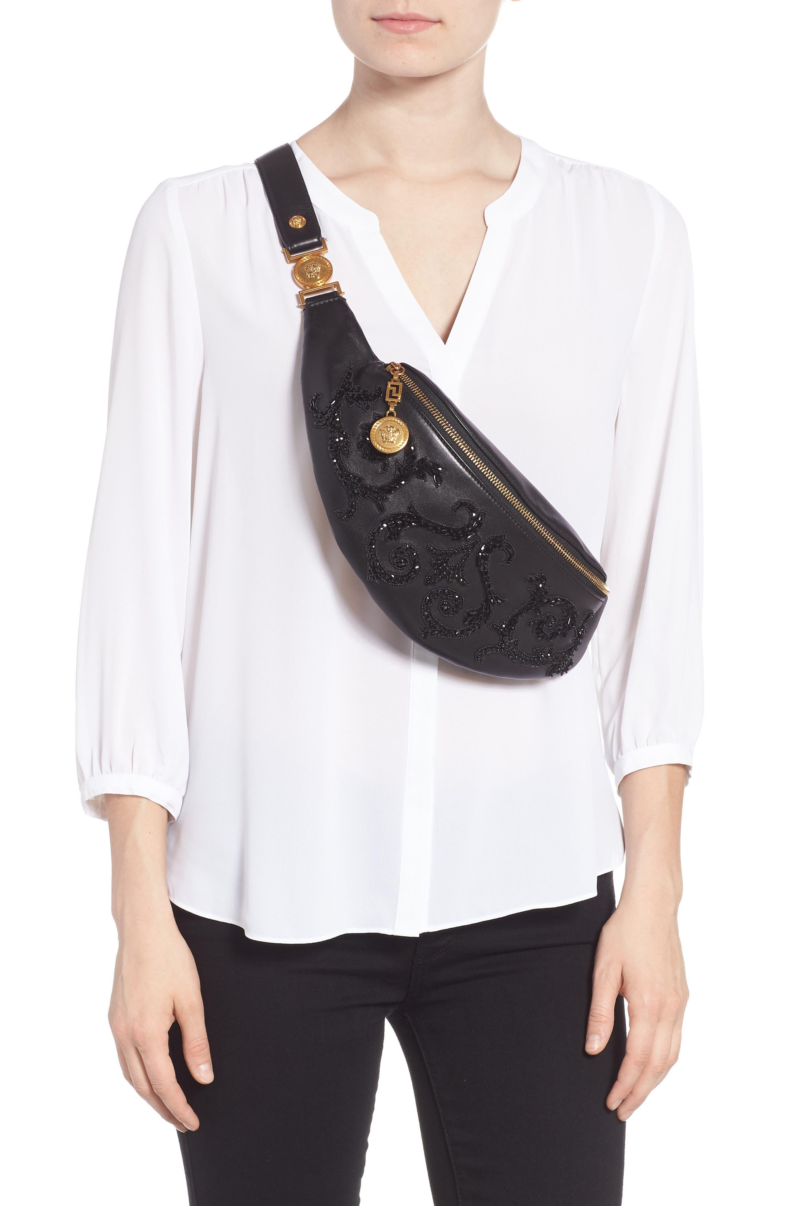 VERSACE COLLECTION,                             Versace Crystal Embellished Leather Belt Bag,                             Alternate thumbnail 3, color,                             NERO
