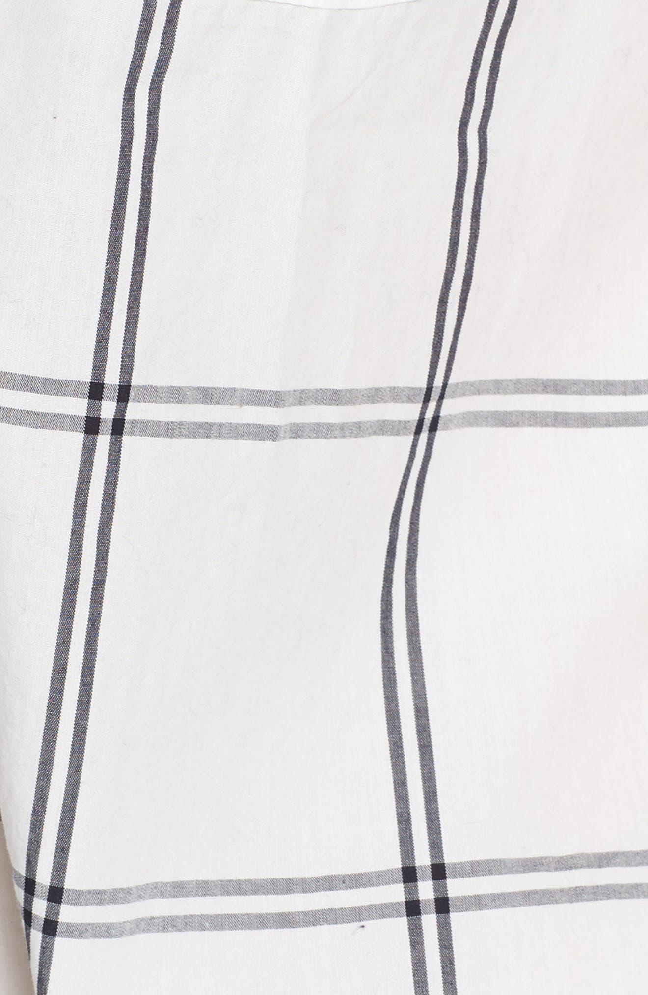 Windowpane Plaid Short Pajamas,                             Alternate thumbnail 5, color,                             IVORY NAVY