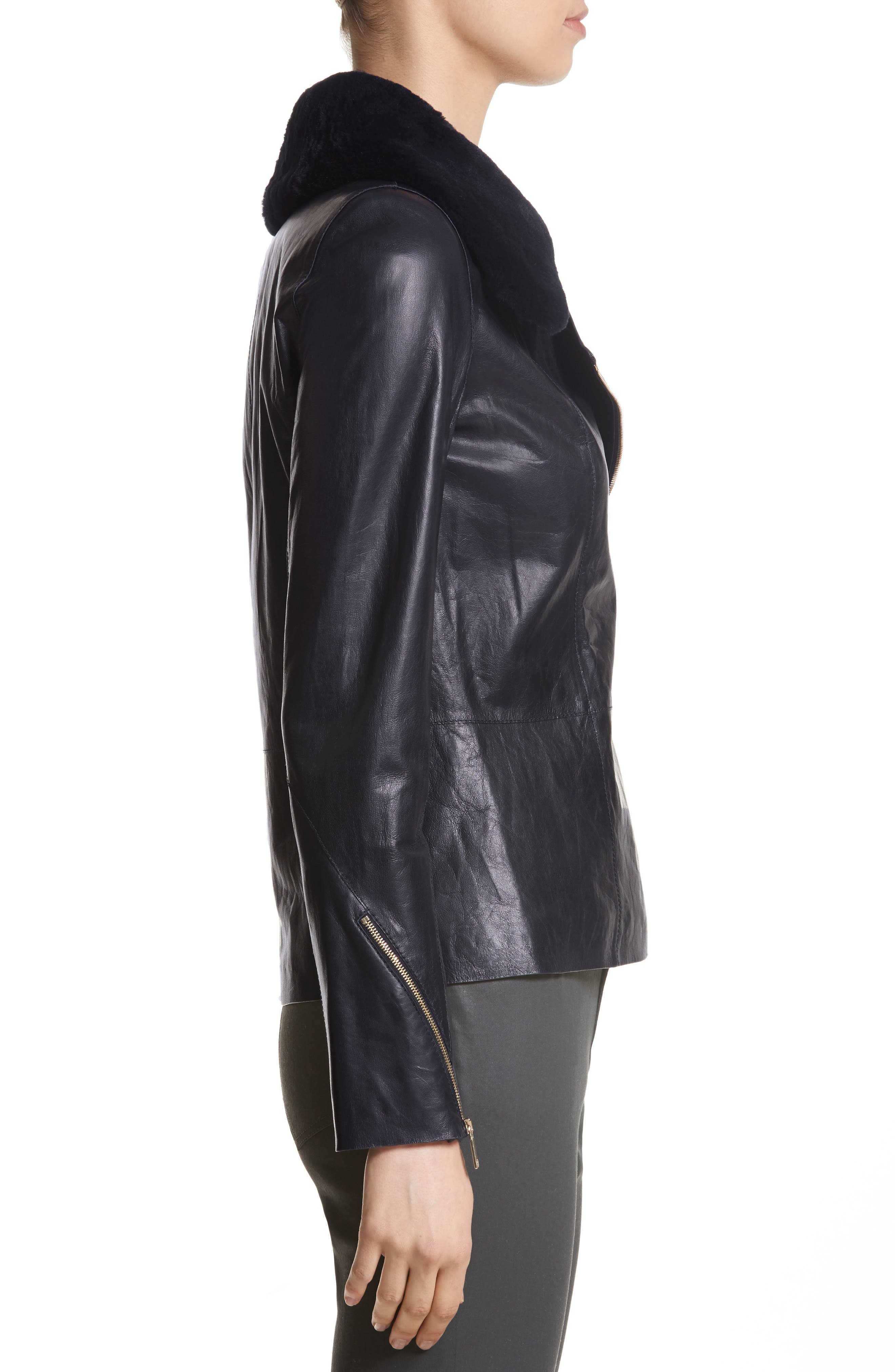 Kimbry Leather Jacket with Removable Genuine Rex Rabbit Fur Collar,                             Alternate thumbnail 3, color,                             479