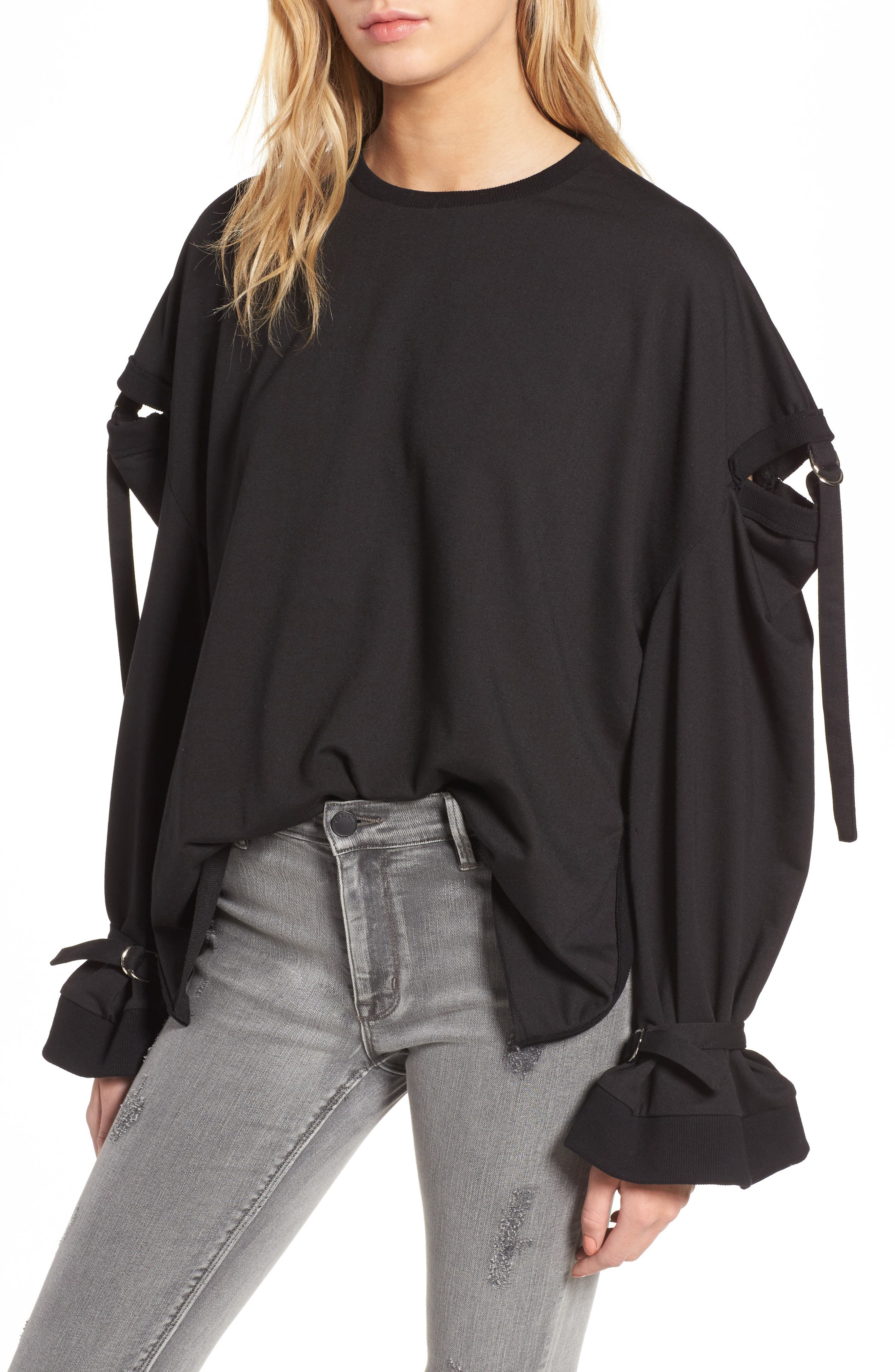 Cutout Detail Sweatshirt,                         Main,                         color, 001
