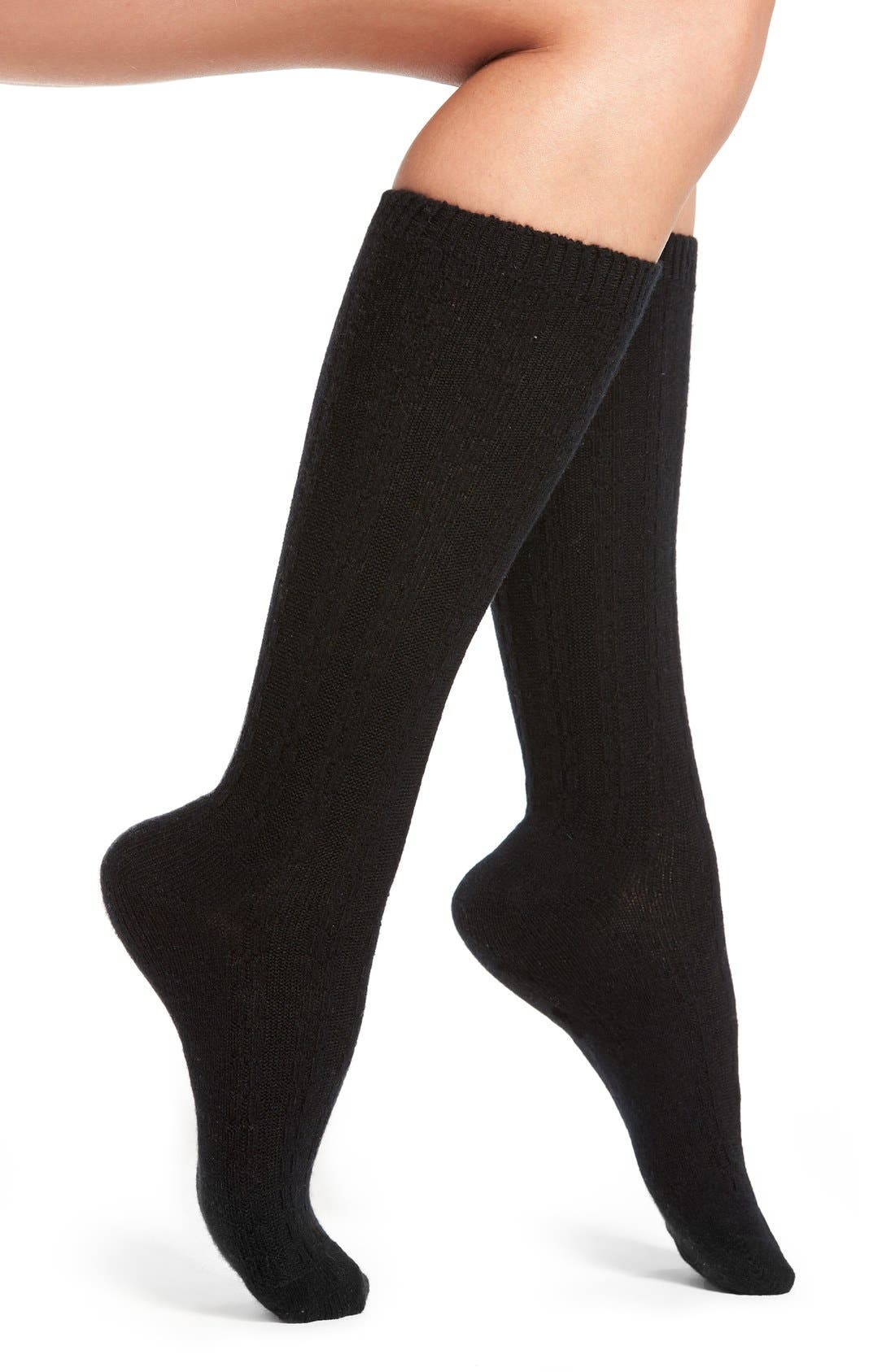 Stretch Cashmere & Wool Socks,                             Main thumbnail 1, color,                             001