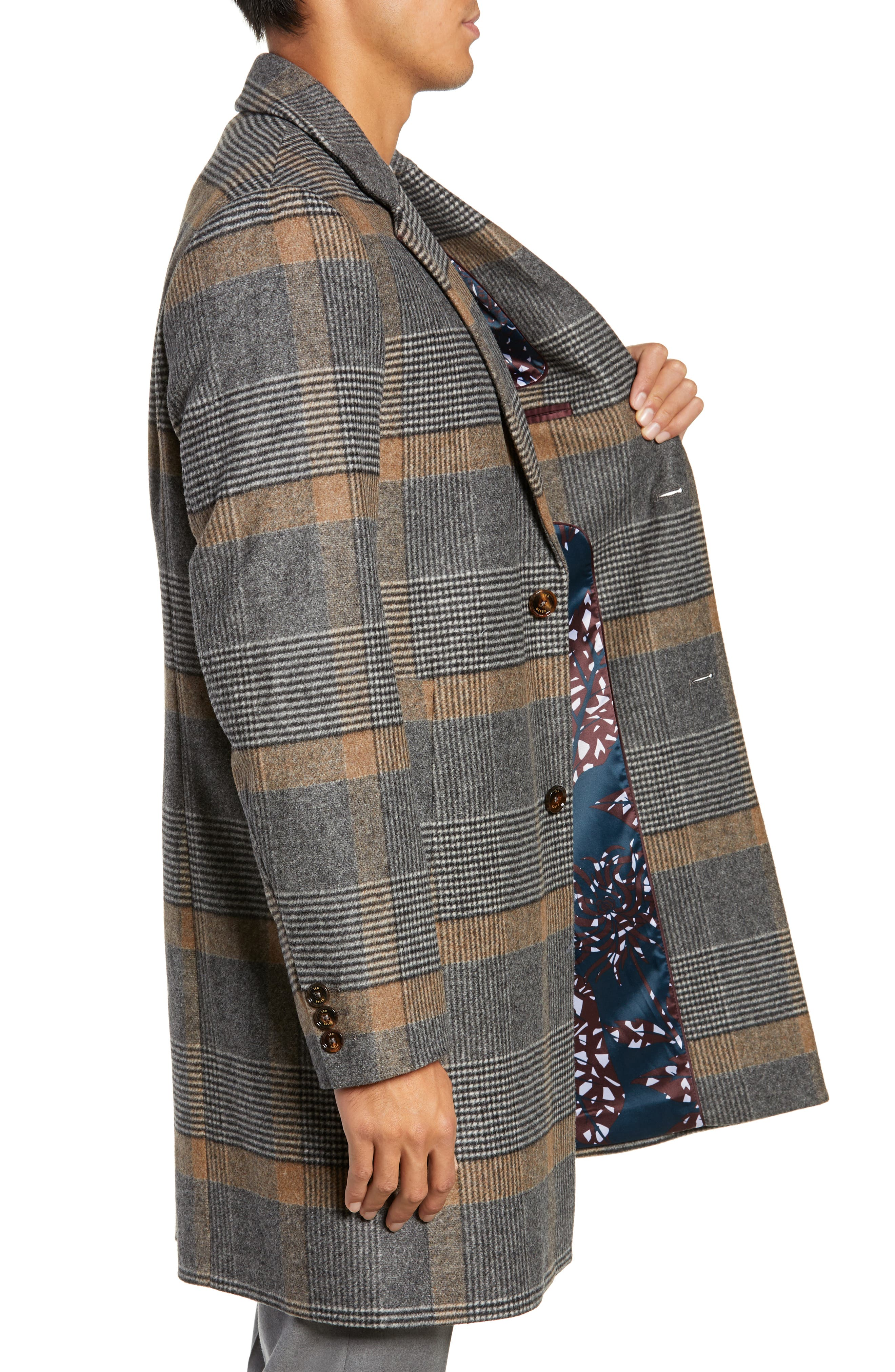 Frais Check Wool Overcoat,                             Alternate thumbnail 3, color,                             CAMEL
