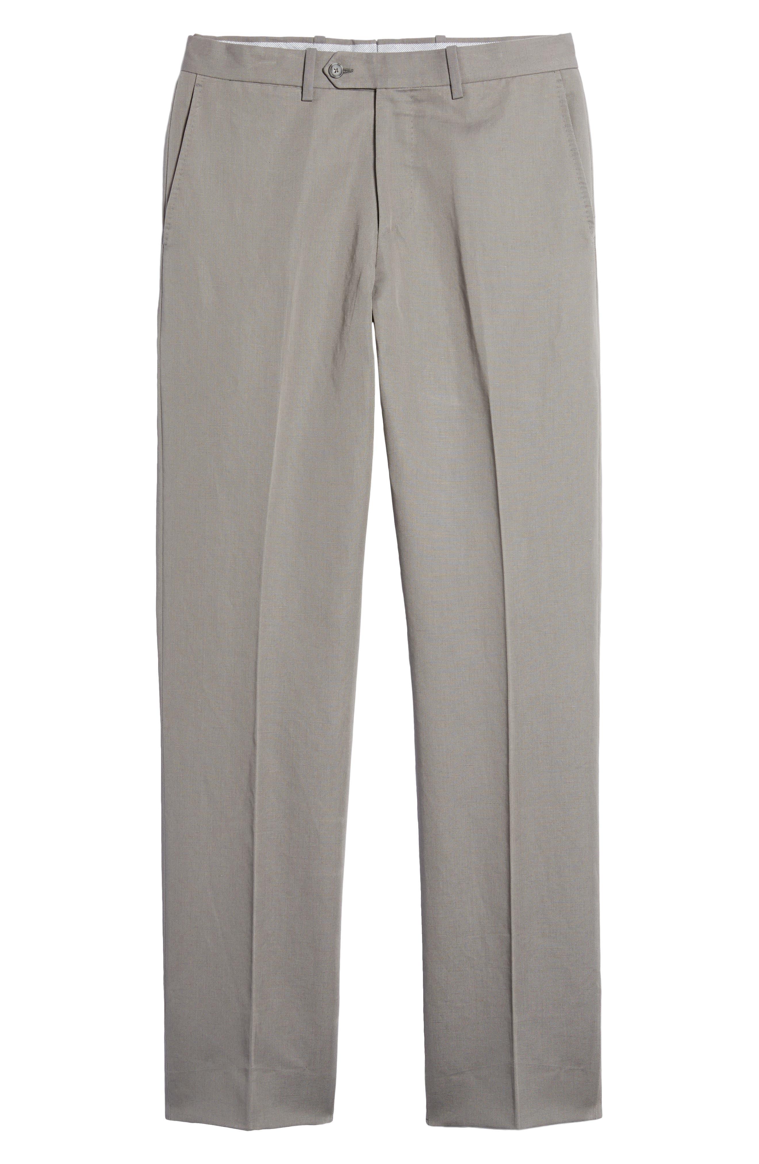 Flat Front Solid Cotton & Linen Trousers,                             Alternate thumbnail 6, color,                             030