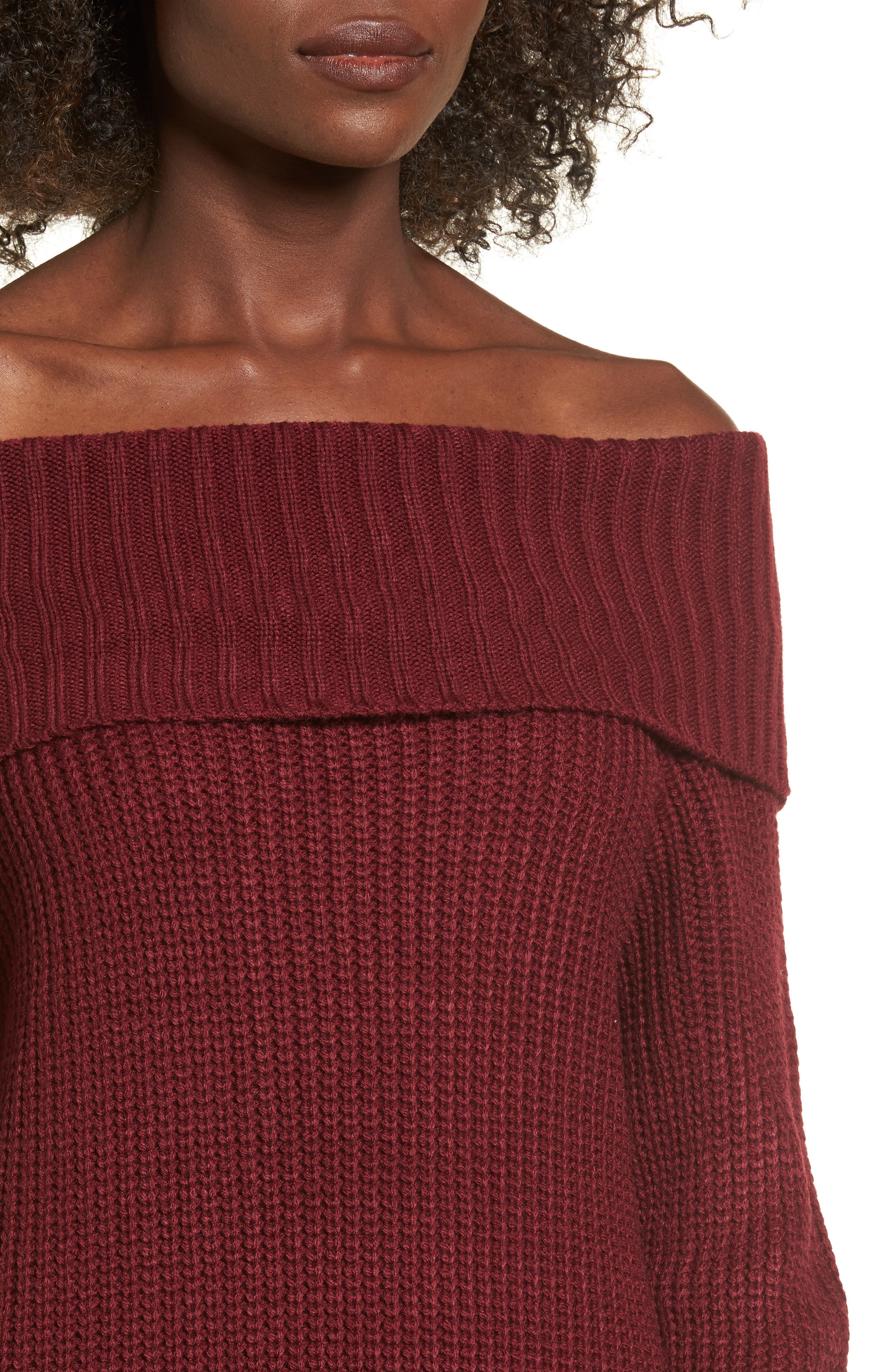 Foldover Off the Shoulder Sweater Dress,                             Alternate thumbnail 16, color,