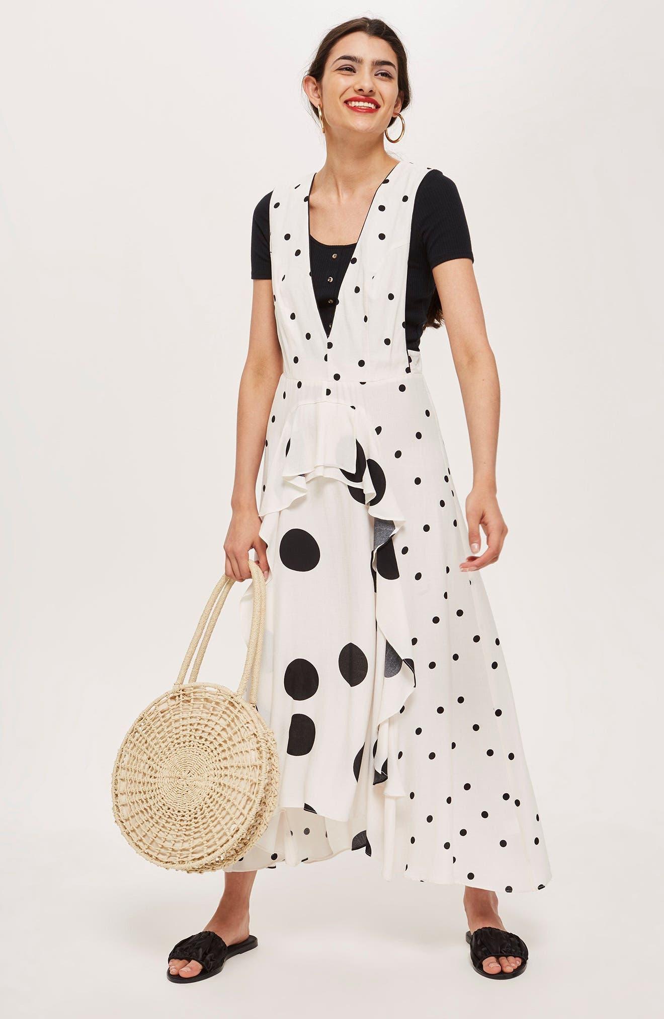 Mix Spotted Pinafore Midi Dress,                             Alternate thumbnail 5, color,