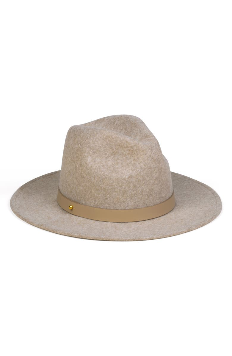 Carlo Mack Wool & Leather Fedora,                         Main,                         color, SPECK BROWN