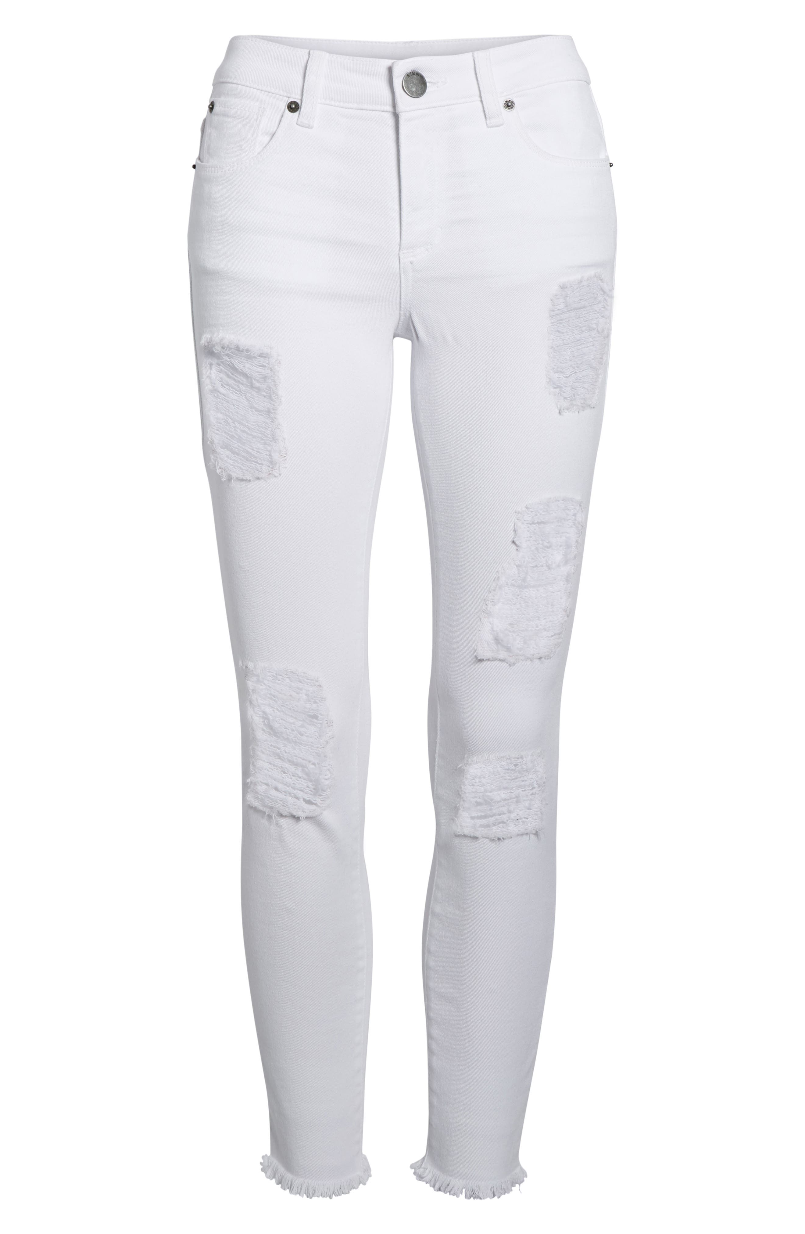 Emma Distressed Skinny Jeans,                             Alternate thumbnail 7, color,                             110