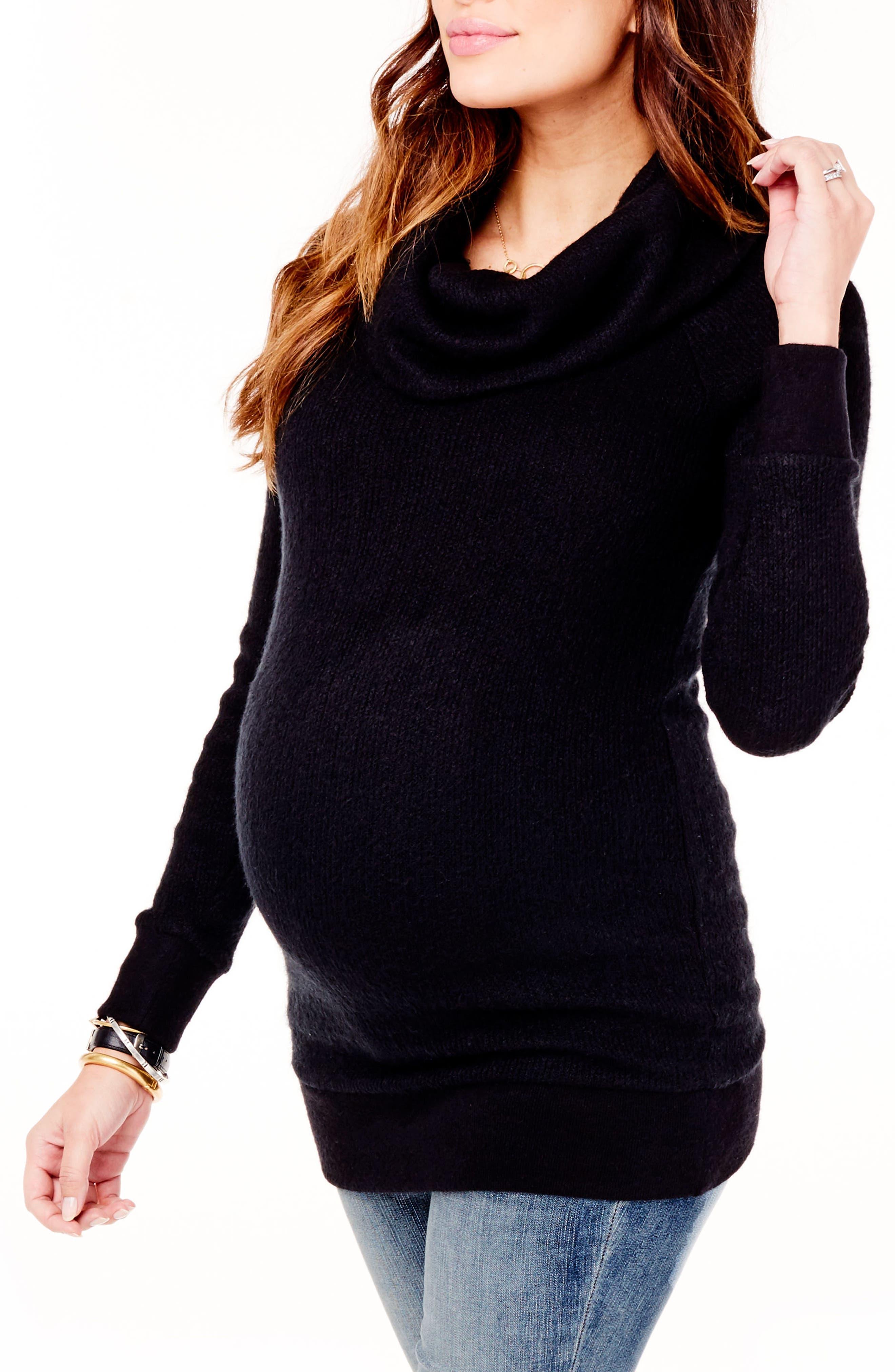 Cowl Neck Maternity Sweater,                             Alternate thumbnail 2, color,                             JET BLACK