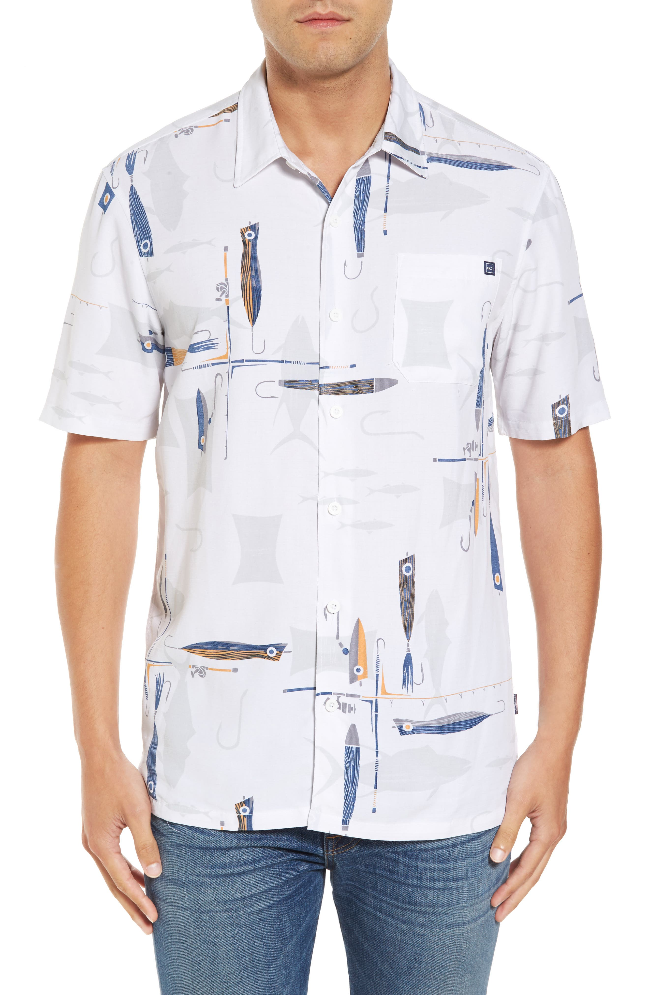 Hook and Line Print Camp Shirt,                         Main,                         color, 100