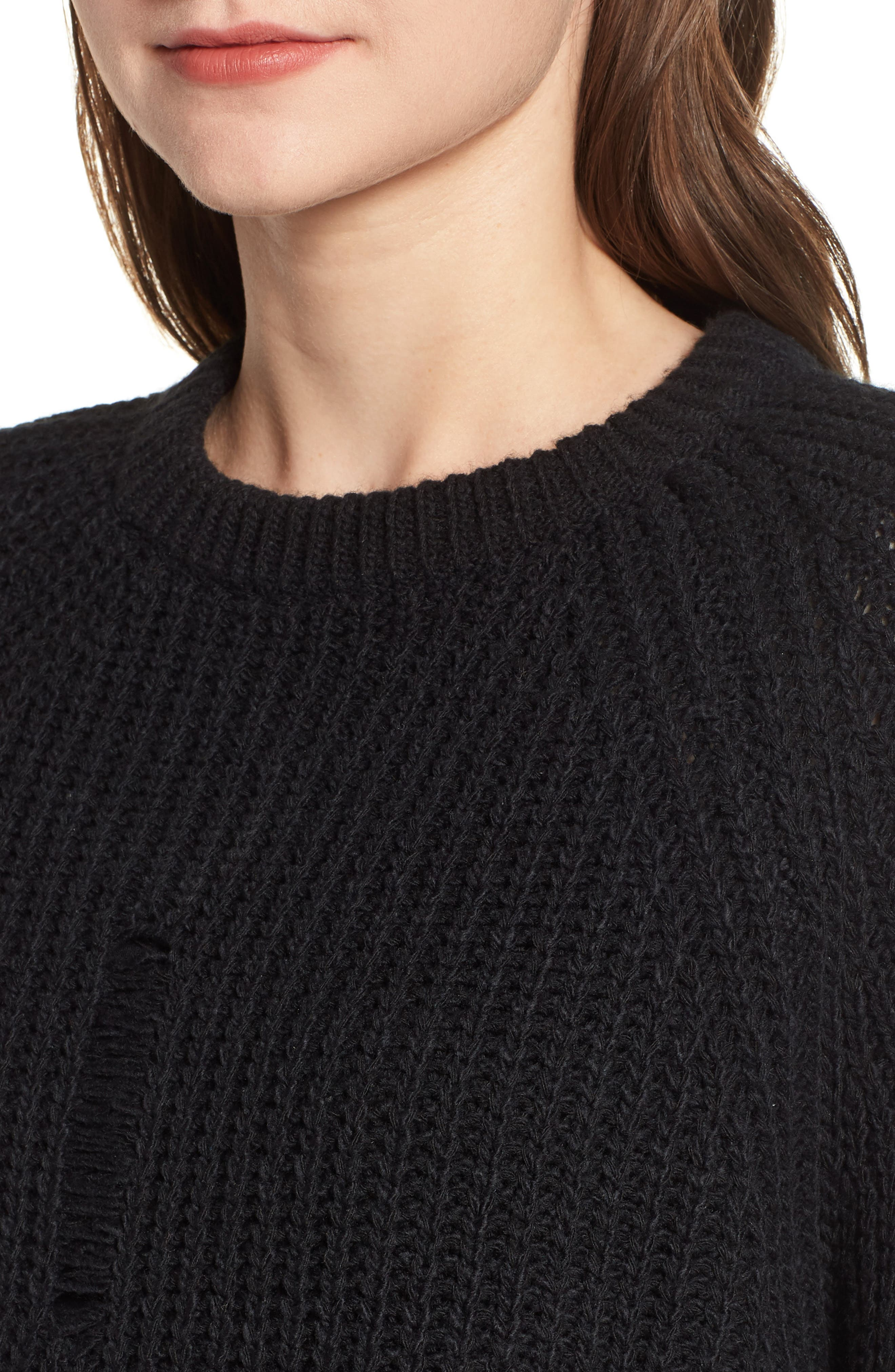 Bishop + Young Simone Distressed Shaker Sweater,                             Alternate thumbnail 4, color,                             BLACK
