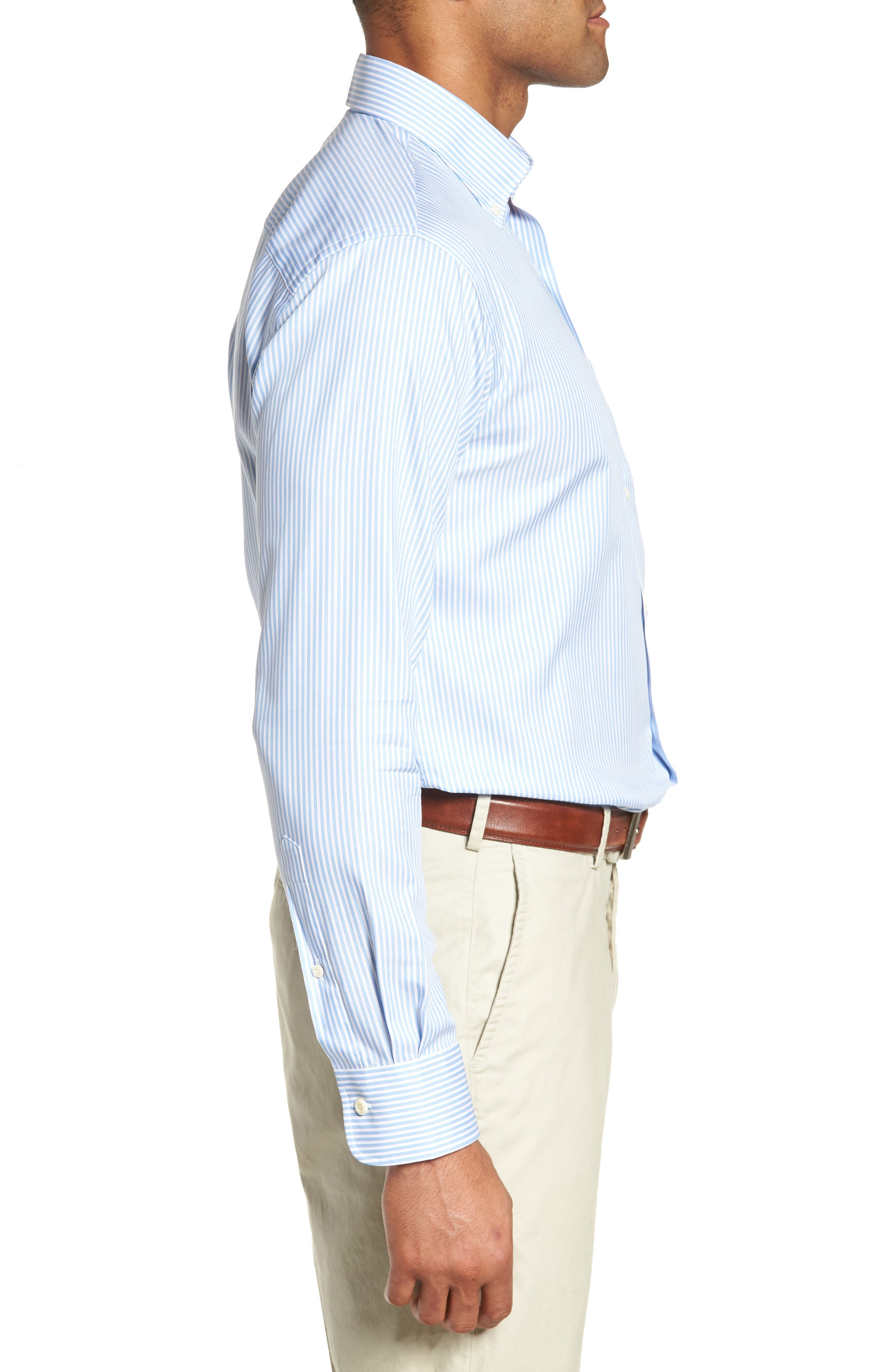 Classic Fit Crown Soft Longshot Stripe Sport Shirt,                             Alternate thumbnail 3, color,                             439