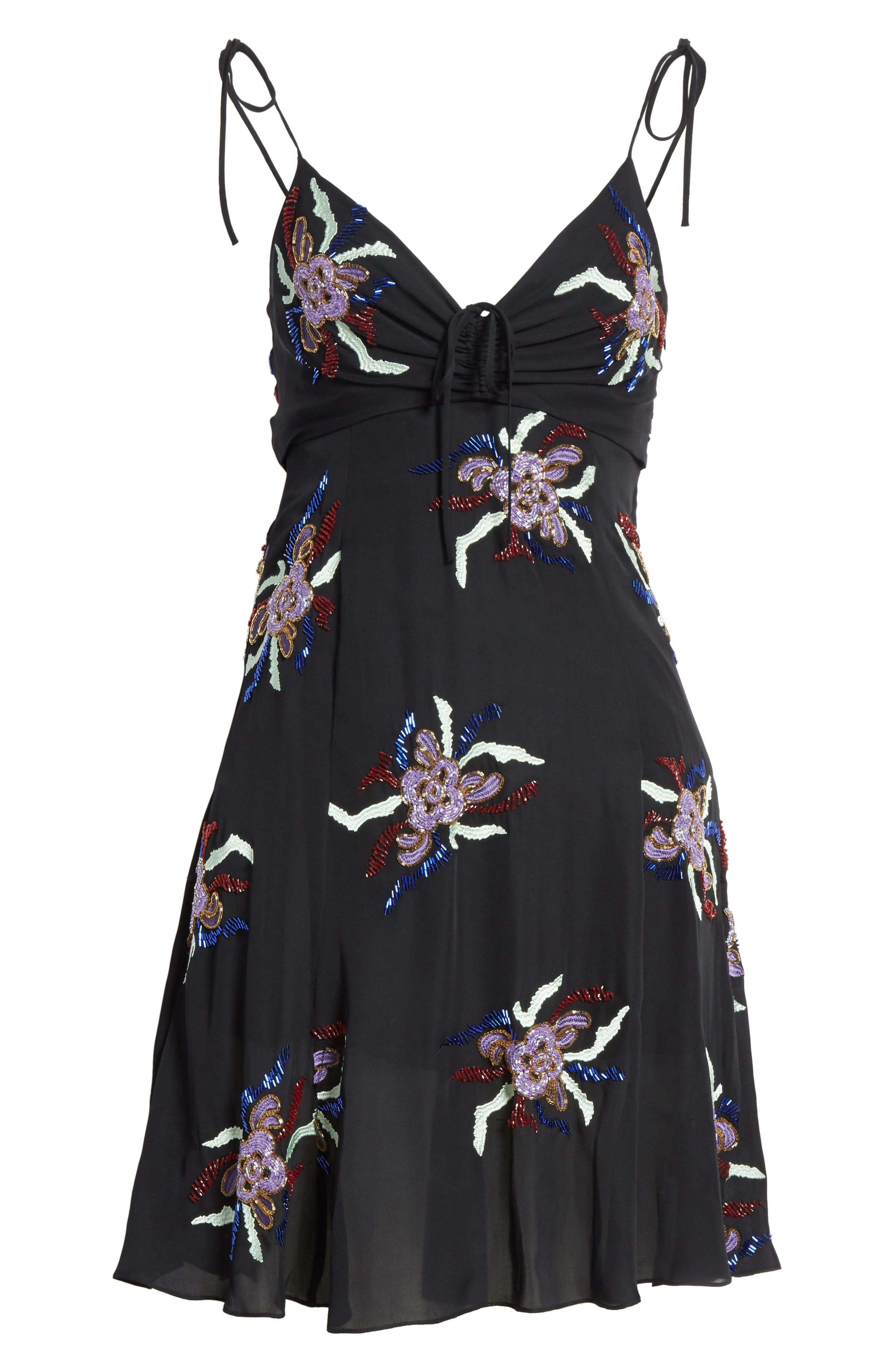 Porsca Embellished Silk Dress,                             Alternate thumbnail 6, color,                             008