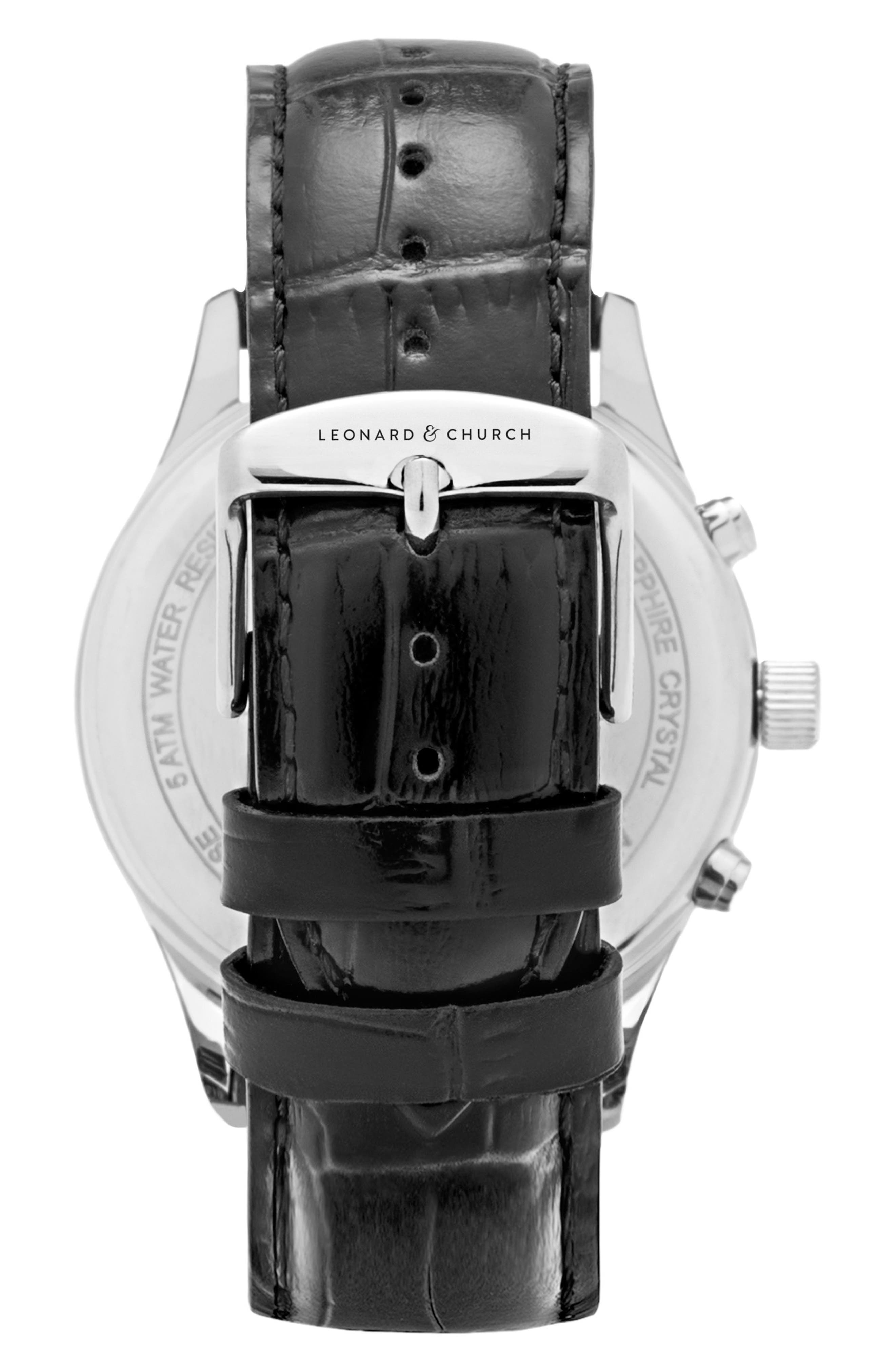 Leonard & Church Barclay Chronograph Leather Strap Watch, 43mm,                             Alternate thumbnail 2, color,                             BLACK/ BLUE/ SILVER