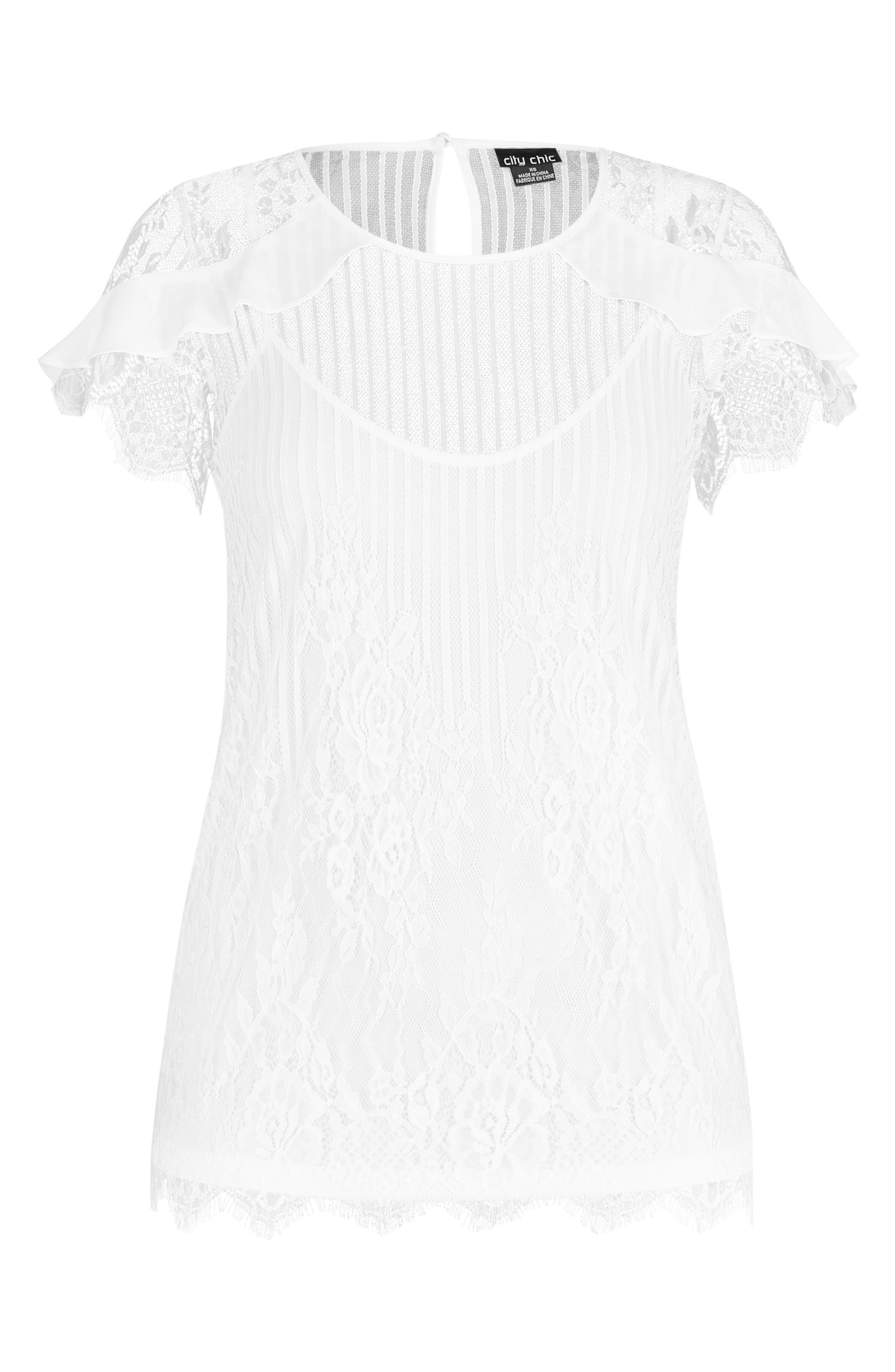 CITY CHIC,                             Ruffle Stripe Lace Top,                             Alternate thumbnail 3, color,                             IVORY