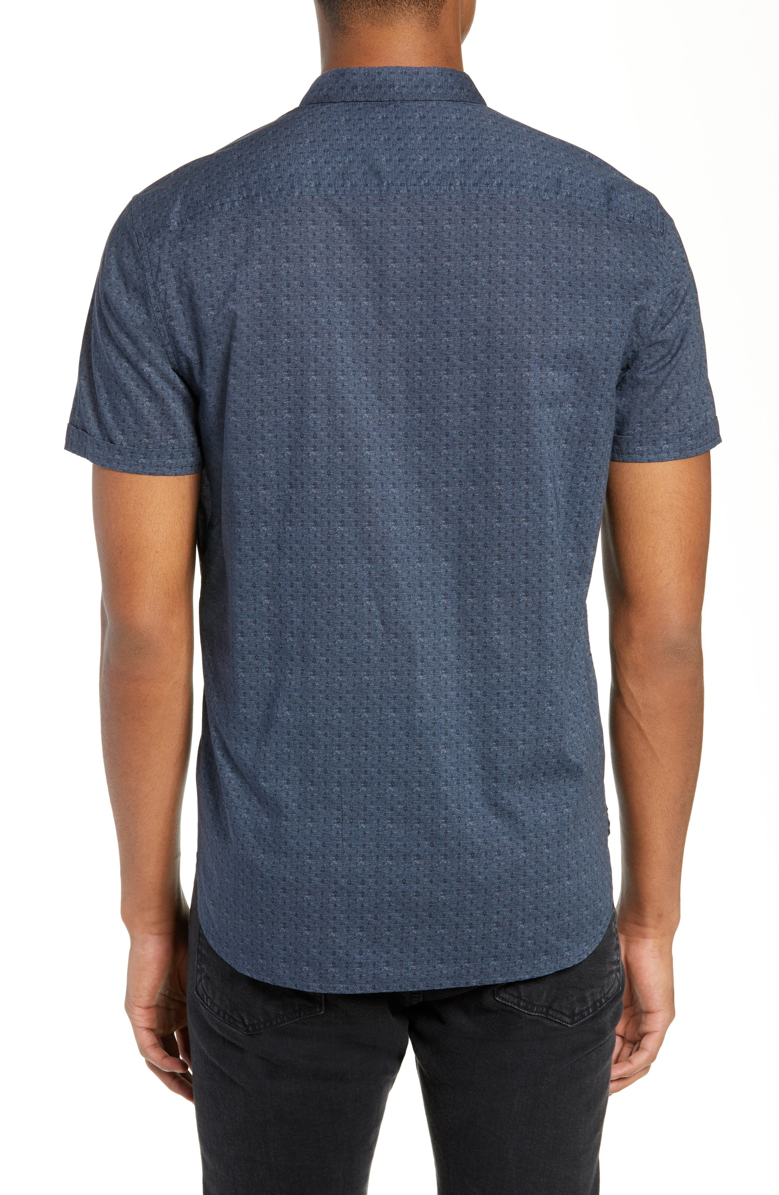 JOHN VARVATOS STAR USA,                             Regular Fit Foulard Print Sport Shirt,                             Alternate thumbnail 3, color,                             TITANIUM BLUE