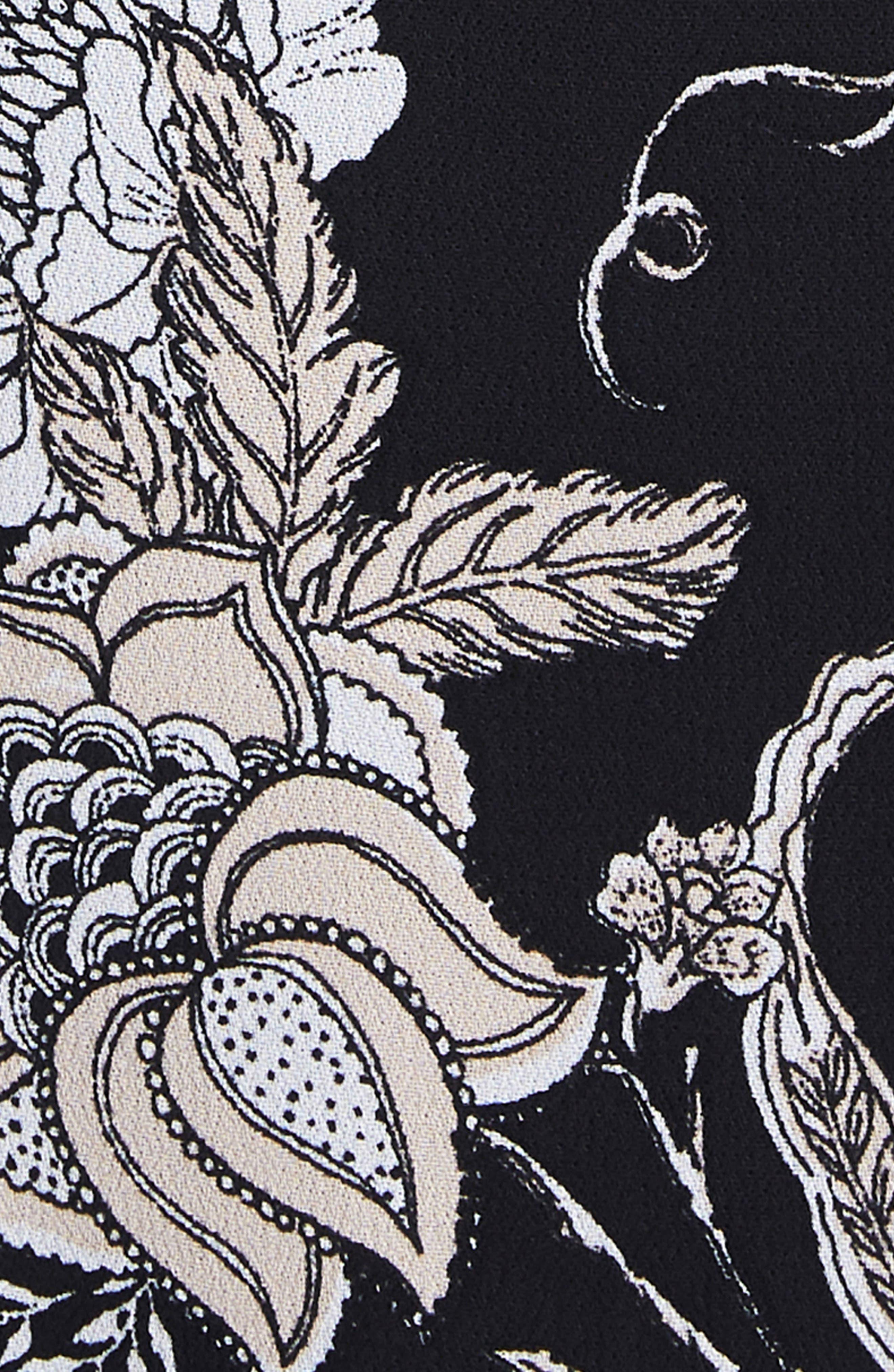 Amalfi Lantern Wrap Dress,                             Alternate thumbnail 4, color,                             001
