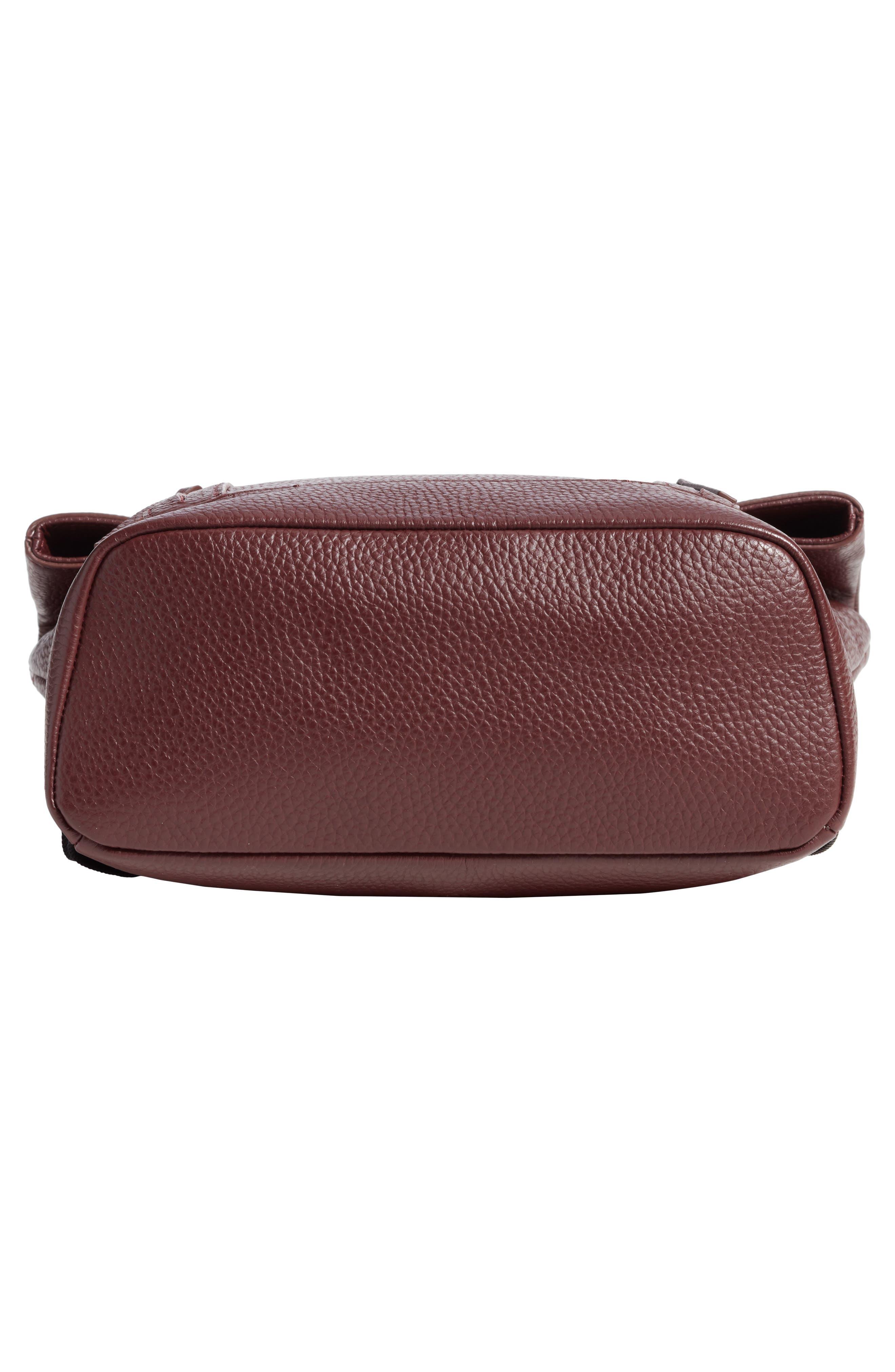 Remy Pebbled Leather Backpack,                             Alternate thumbnail 6, color,                             BURGUNDY FIG