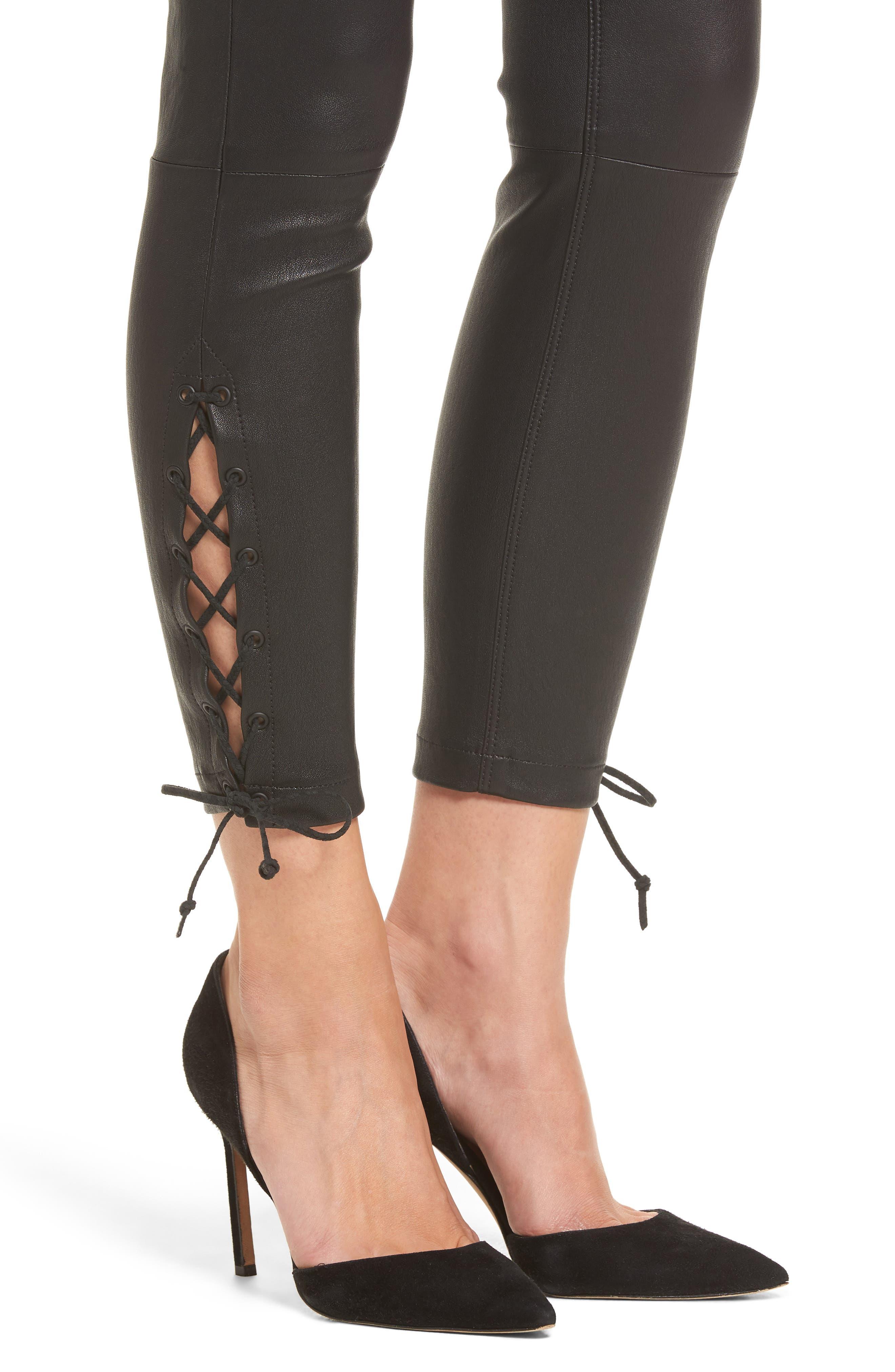 Nix High Waist Leather Skinny Pants,                             Alternate thumbnail 4, color,                             001