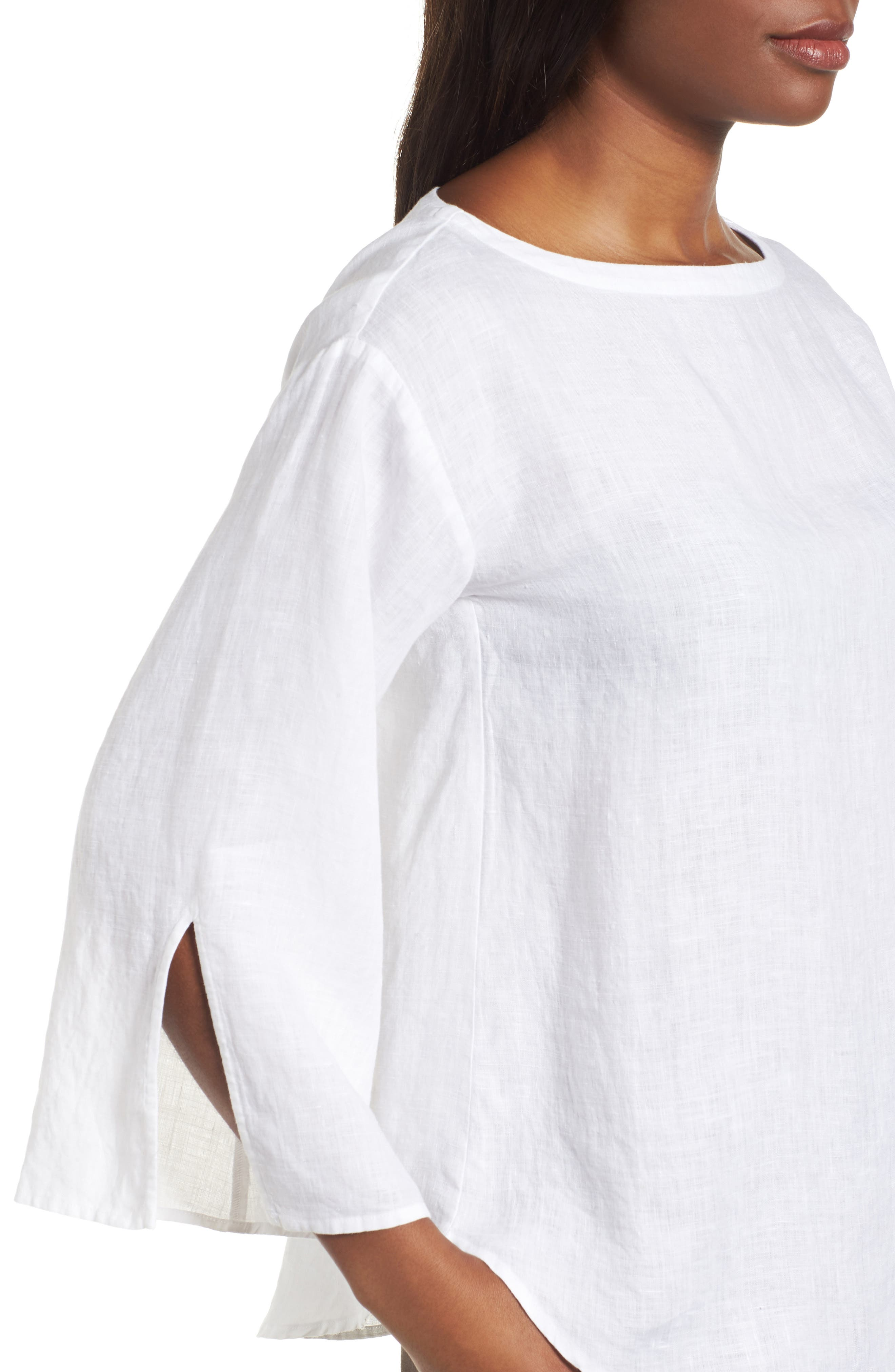 Woven Organic Linen Top,                             Alternate thumbnail 4, color,                             100