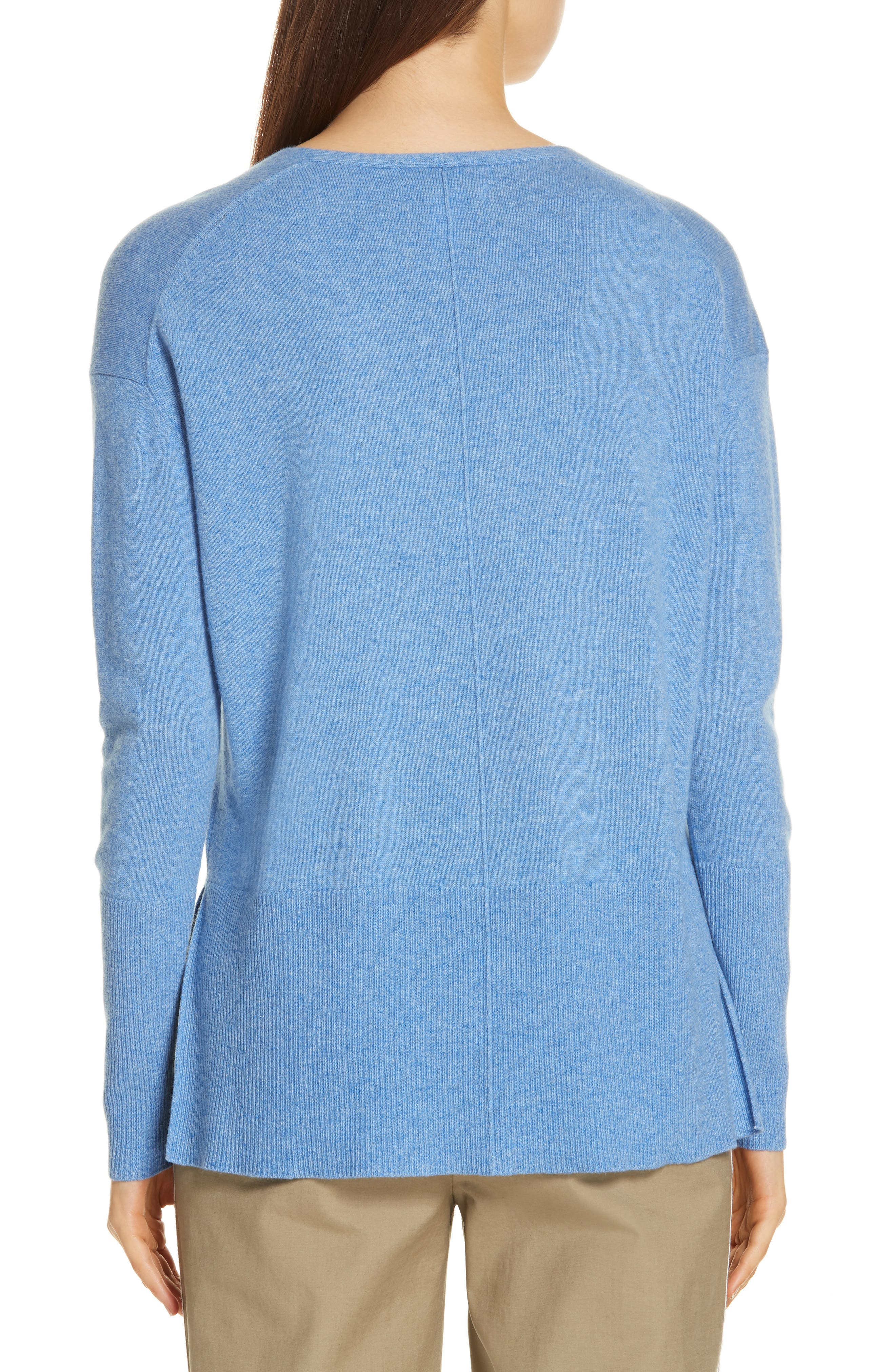 V-Neck High/Low Cashmere Sweater,                             Alternate thumbnail 2, color,                             BLUE PROVENCE HEATHER